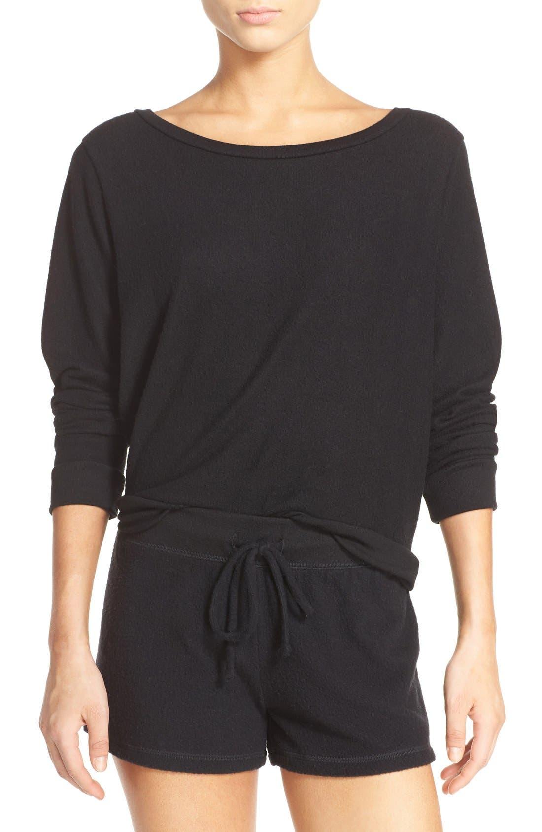 Brushed Hacci Sweatshirt,                             Main thumbnail 1, color,                             001