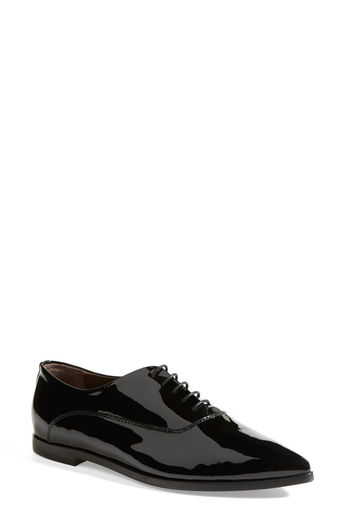 AGL Attilio Giusti Leombruni Patent Leather Pointy Toe Oxford, Main, color, 001