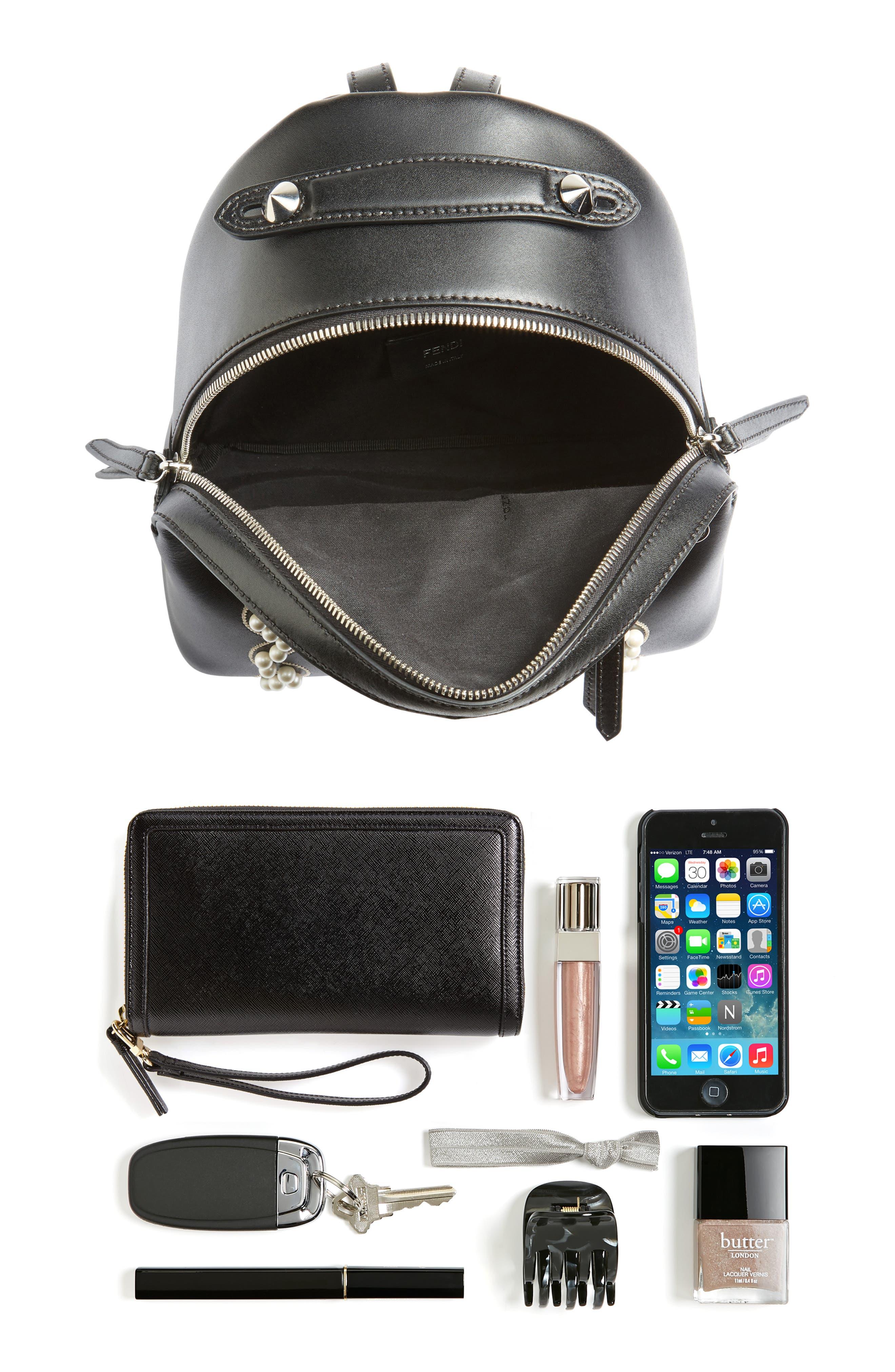 Mini Imitation Pearl Bow Leather Backpack,                             Alternate thumbnail 7, color,                             004