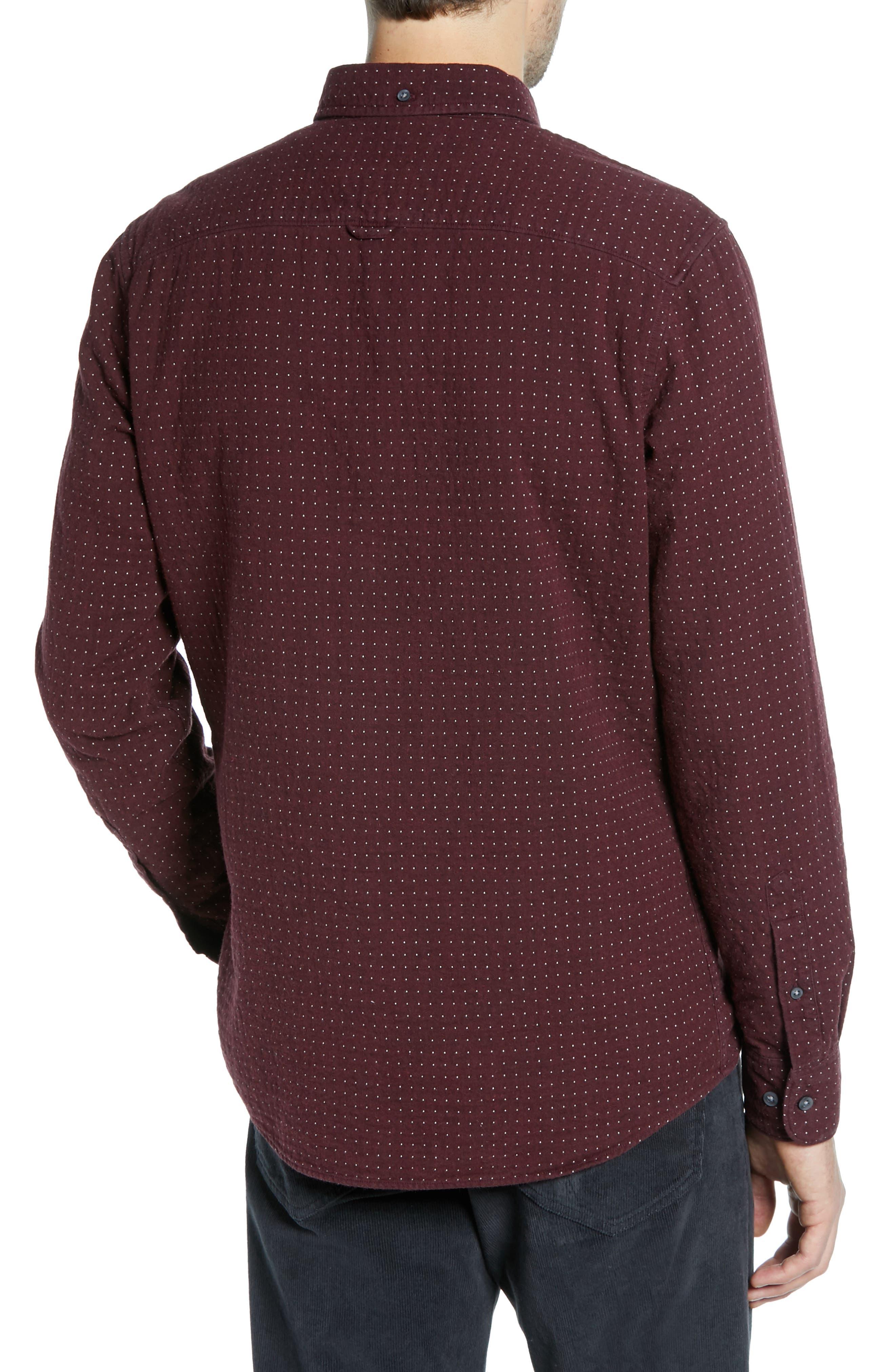 Trim Fit Dot Flannel Sport Shirt,                             Alternate thumbnail 3, color,                             BURGUNDY ROYALE GREY DUOFOLD