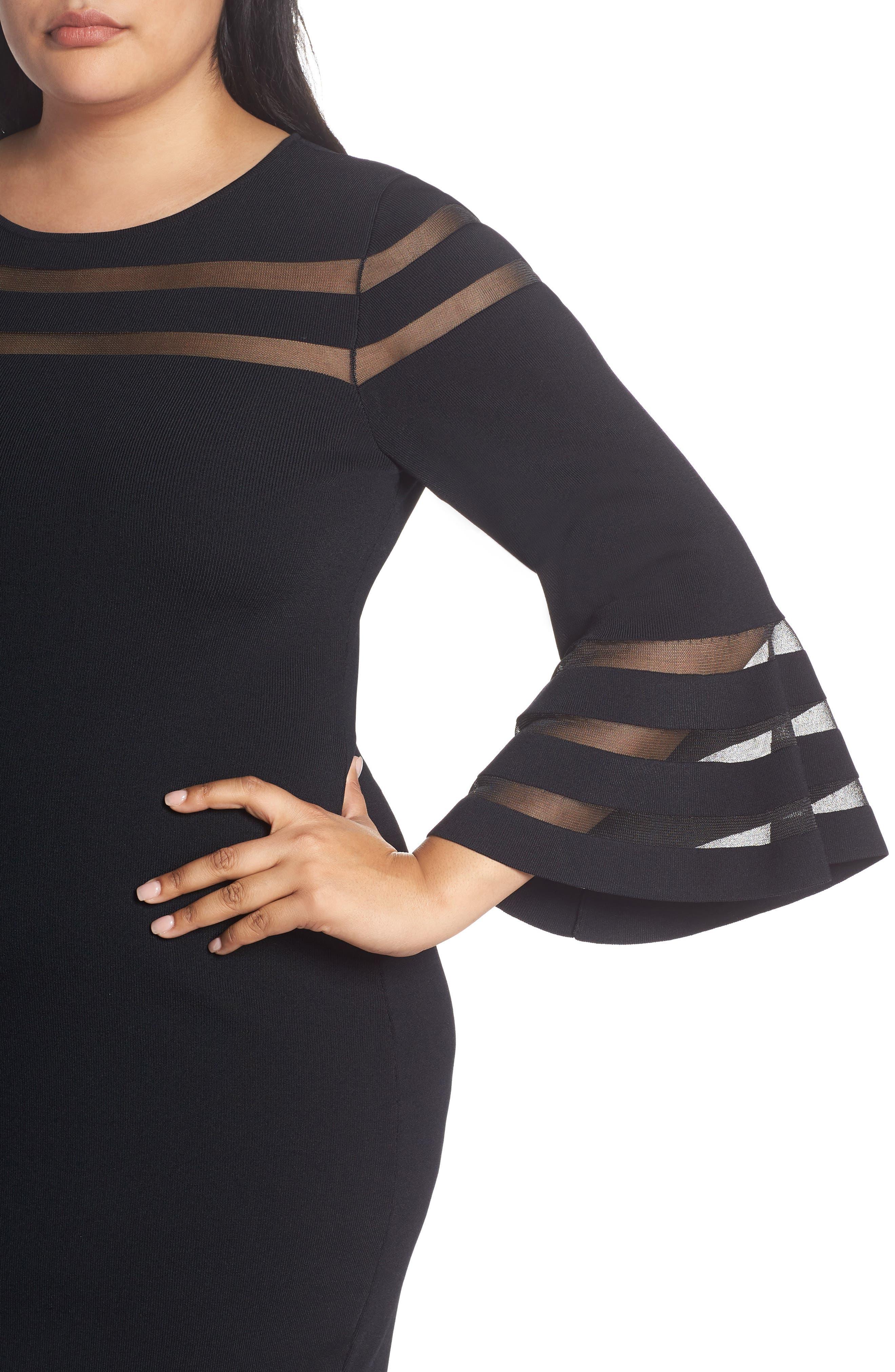 Mesh Stripe Sheath Dress,                             Alternate thumbnail 4, color,                             BLACK