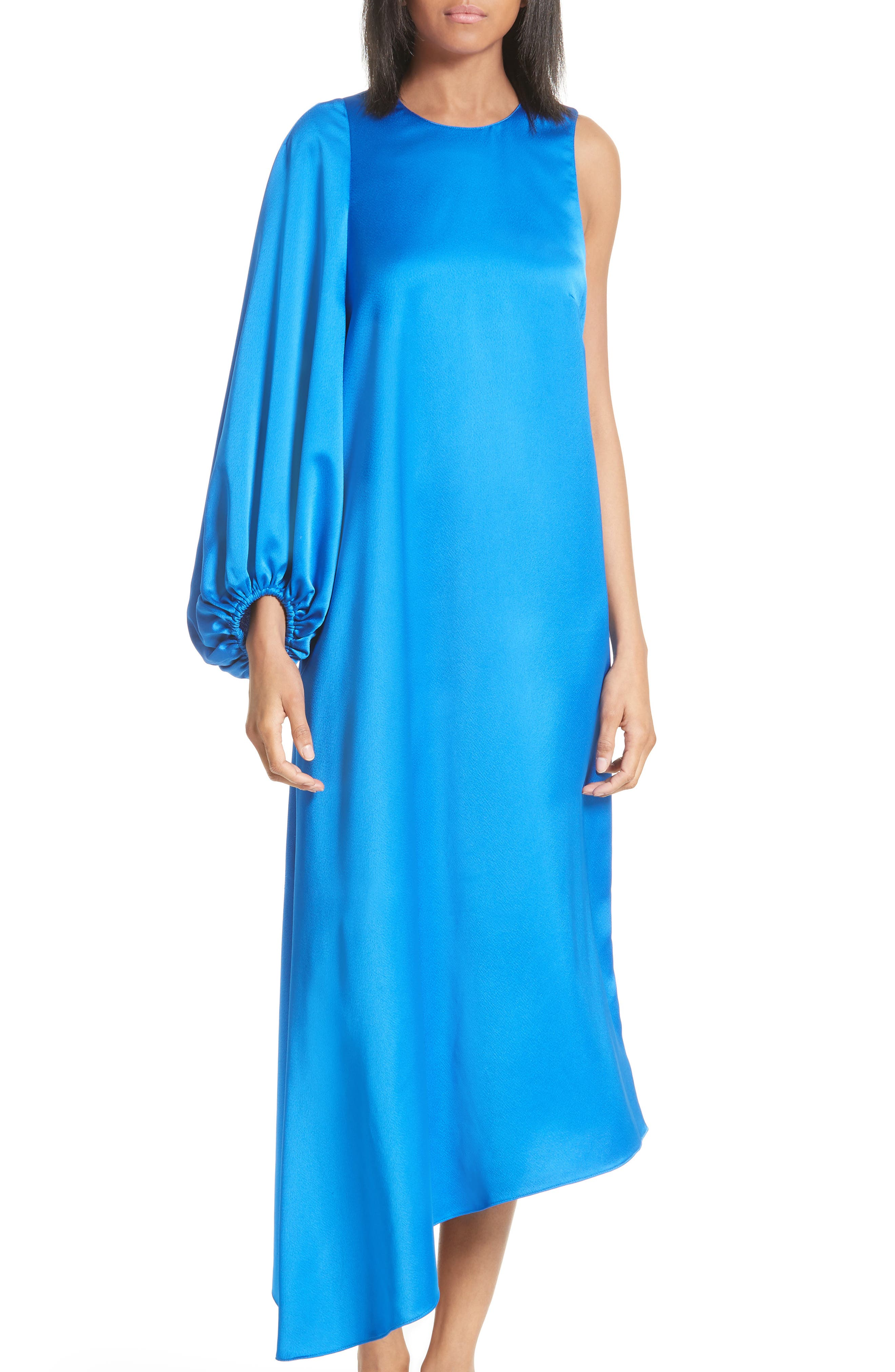 Celestia One Sleeve Bias Cut Satin Dress,                             Alternate thumbnail 5, color,                             408