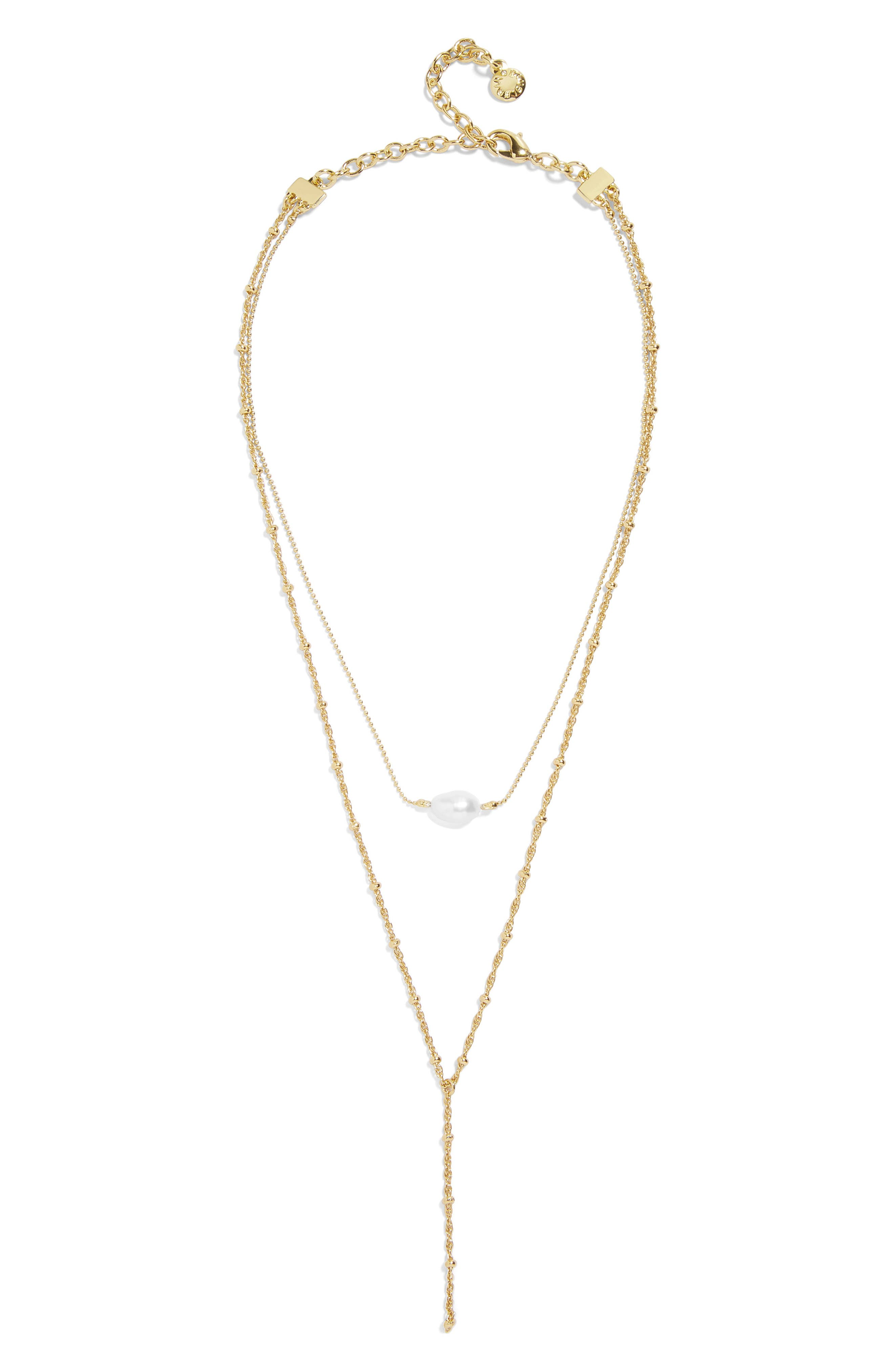 Harmonia Pearl Layered Y-Necklace,                         Main,                         color, WHITE