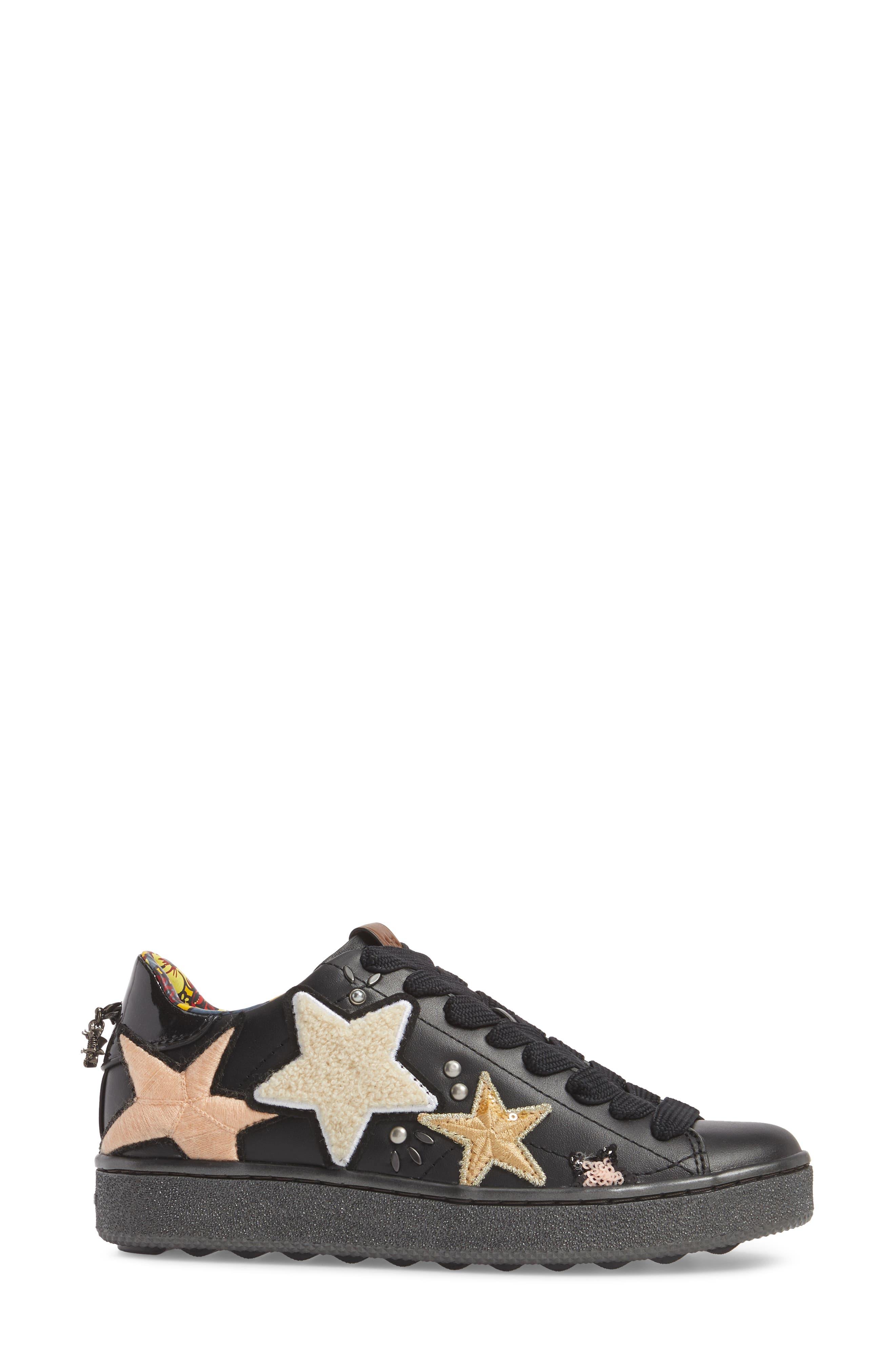 Star Patch Sneaker,                             Alternate thumbnail 3, color,                             001
