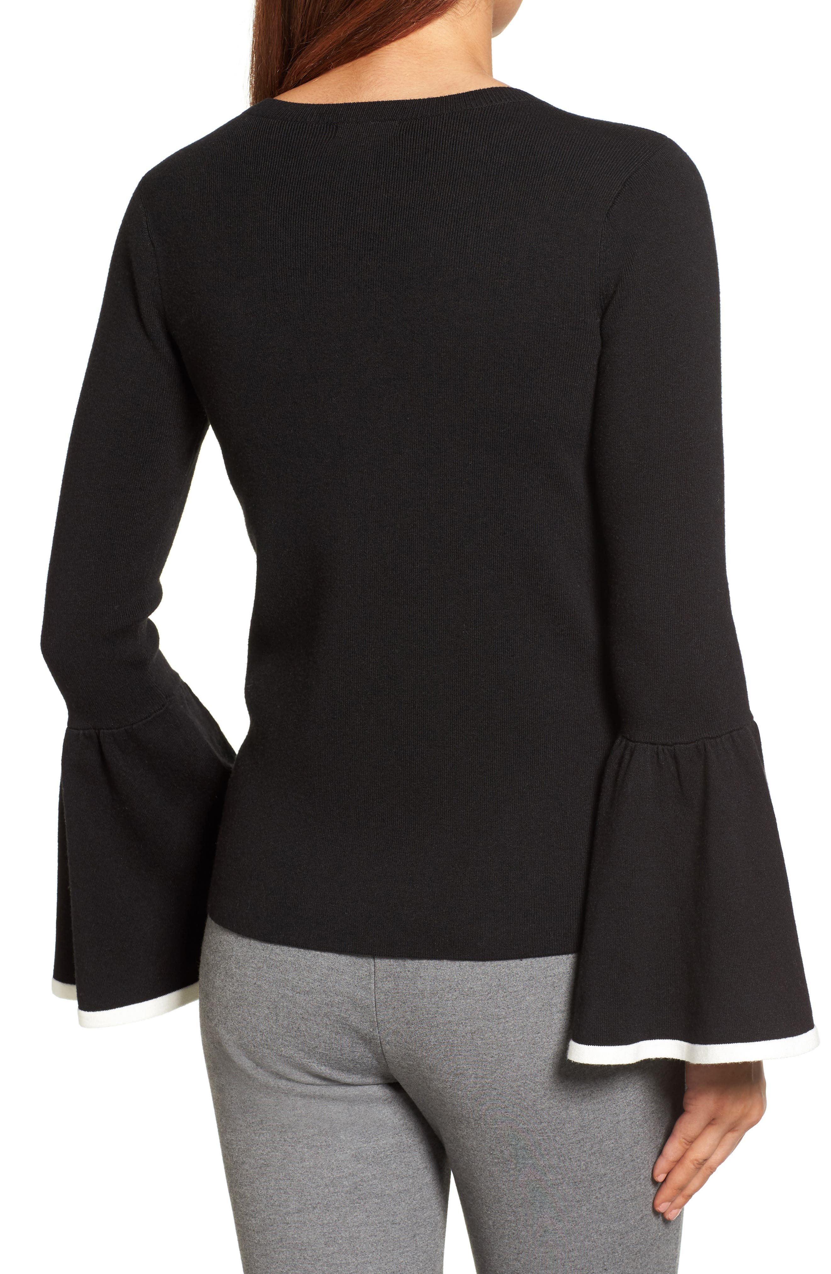 Flare Sleeve Sweater,                             Alternate thumbnail 2, color,                             001