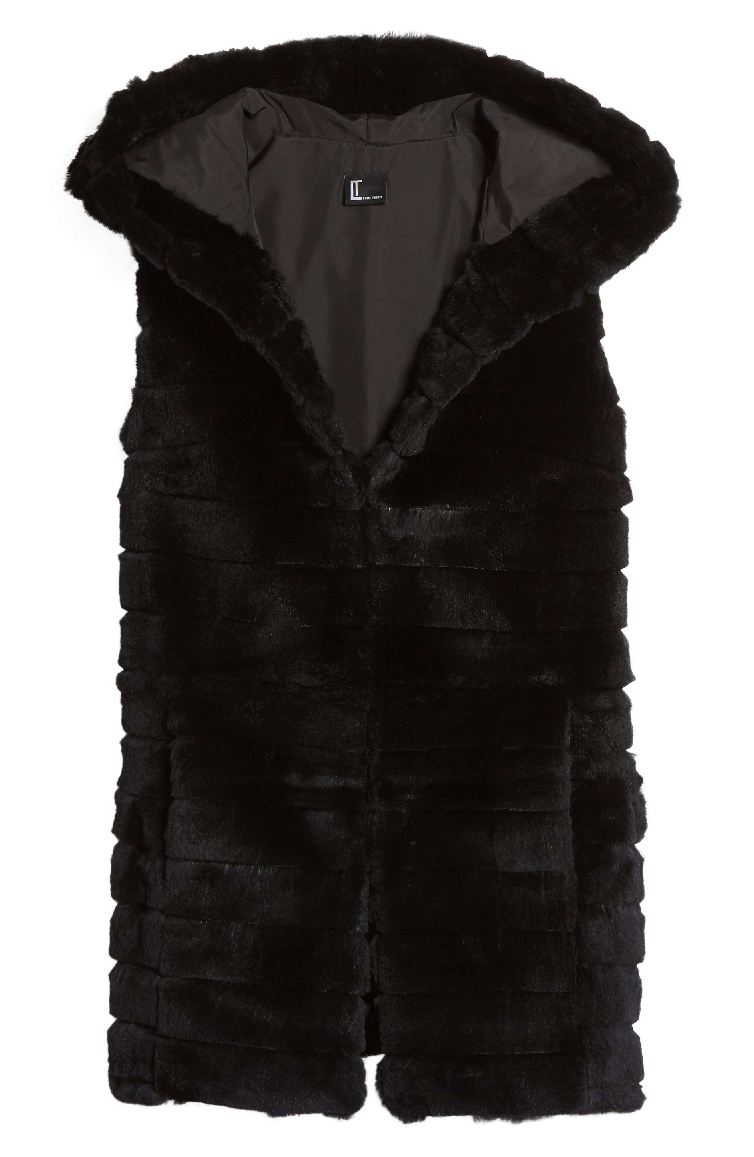 Genuine Rabbit Fur Hooded Vest,                             Alternate thumbnail 5, color,                             001