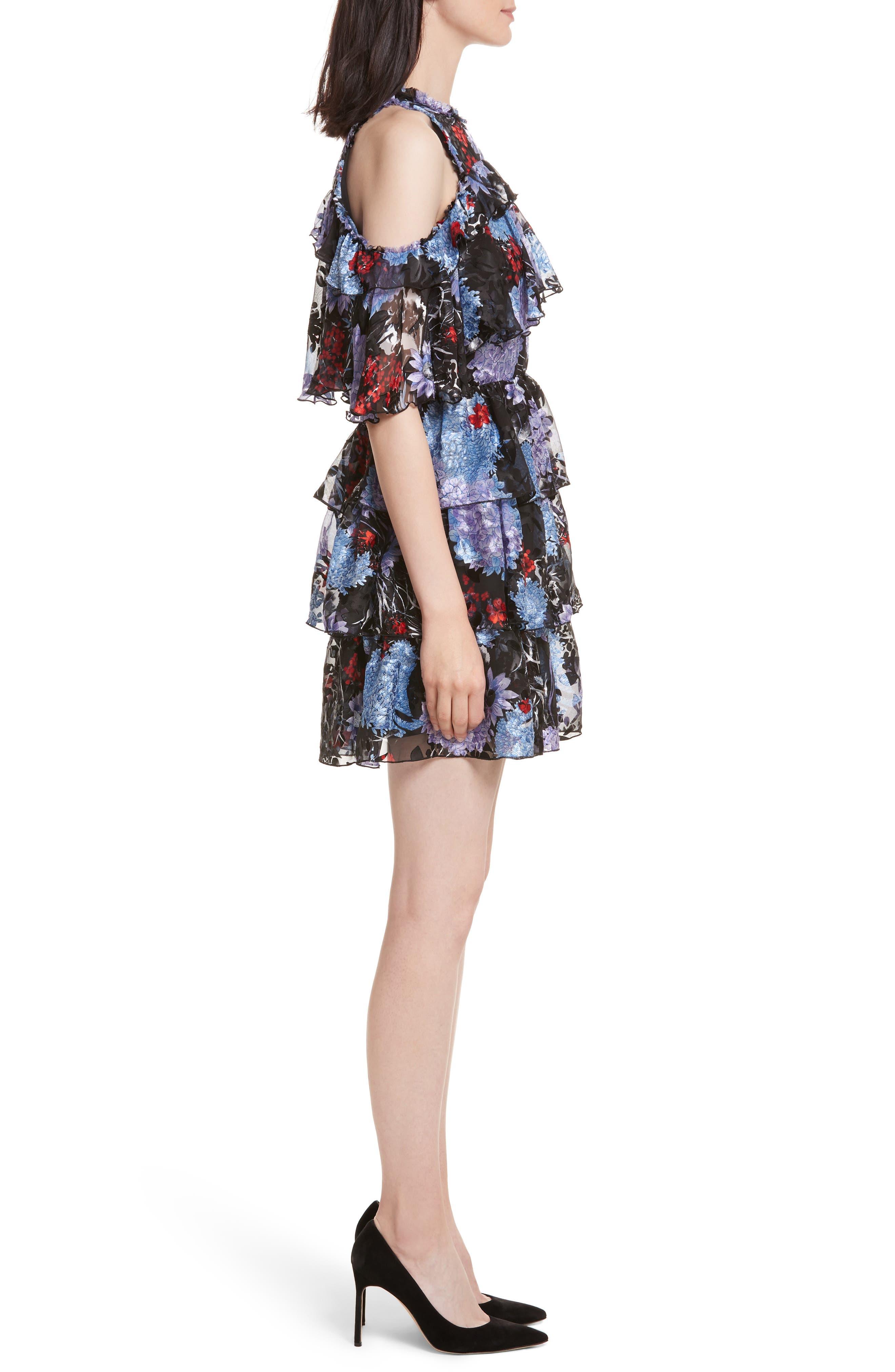 Nichola Cold Shoulder Floral Dress,                             Alternate thumbnail 3, color,                             560