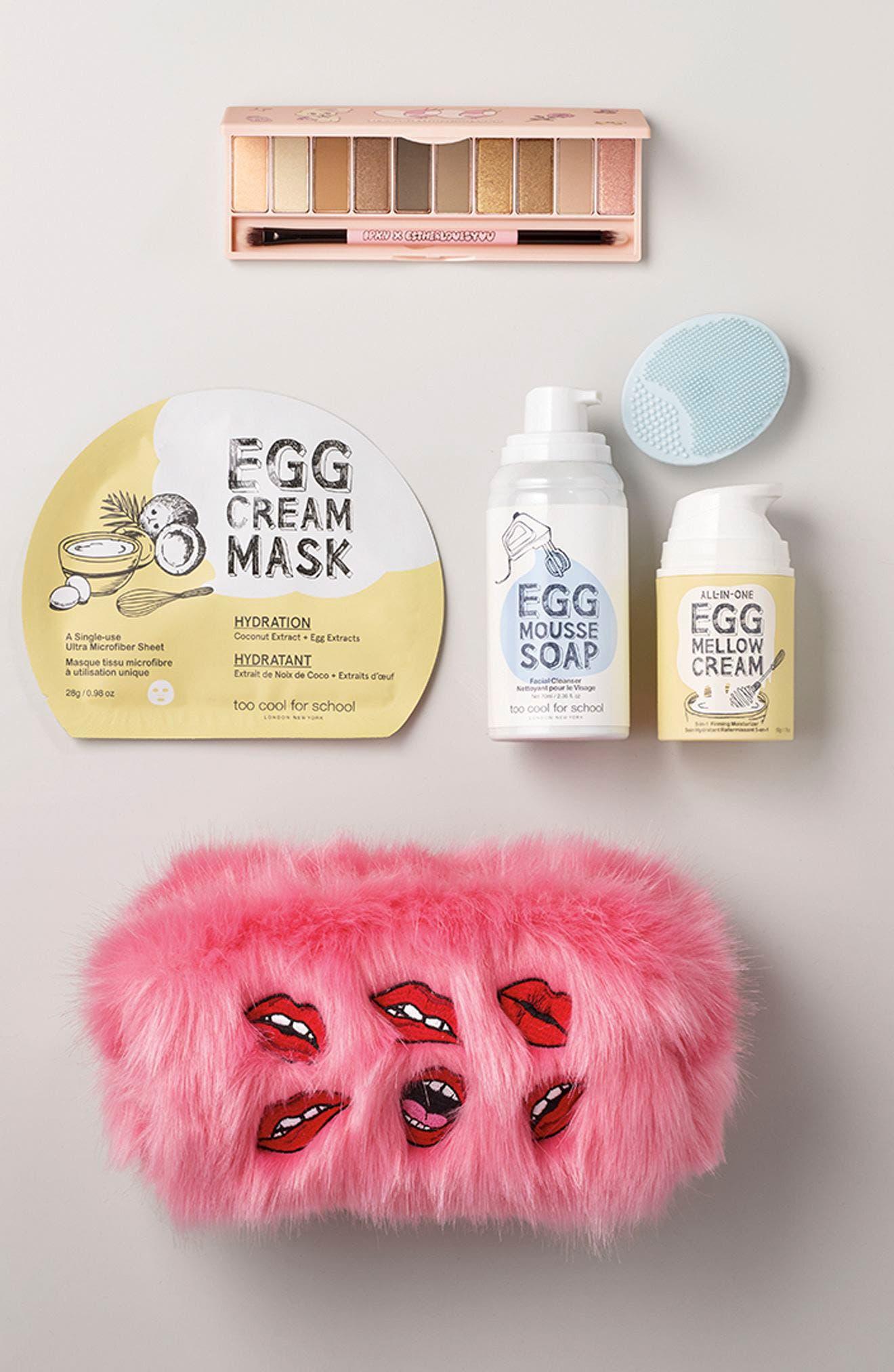 Pink Fluffy Cosmetics Bag,                             Alternate thumbnail 3, color,                             NO COLOR