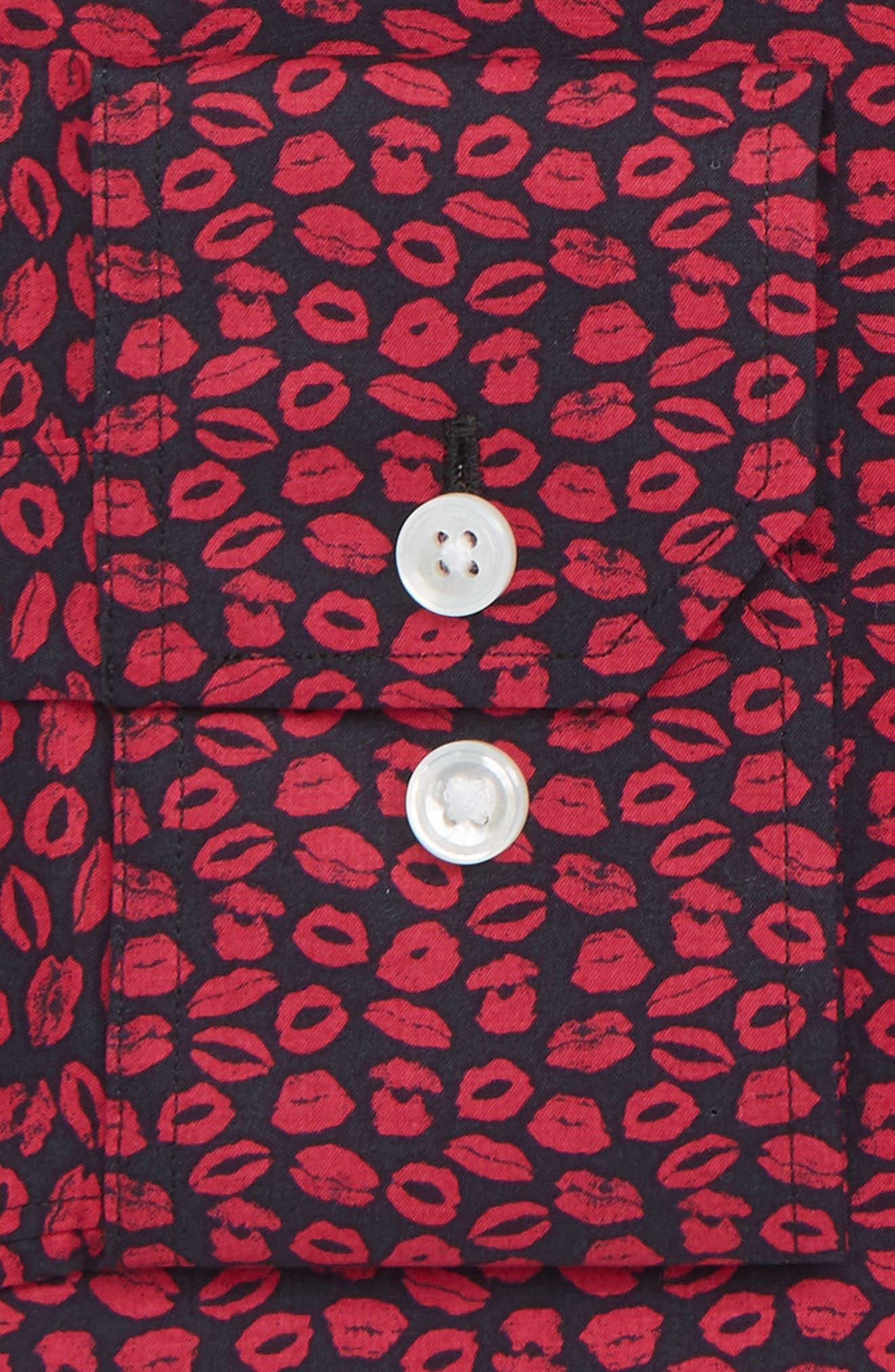 XOXO Slim Fit Stretch Print Dress Shirt,                             Alternate thumbnail 2, color,                             PINK