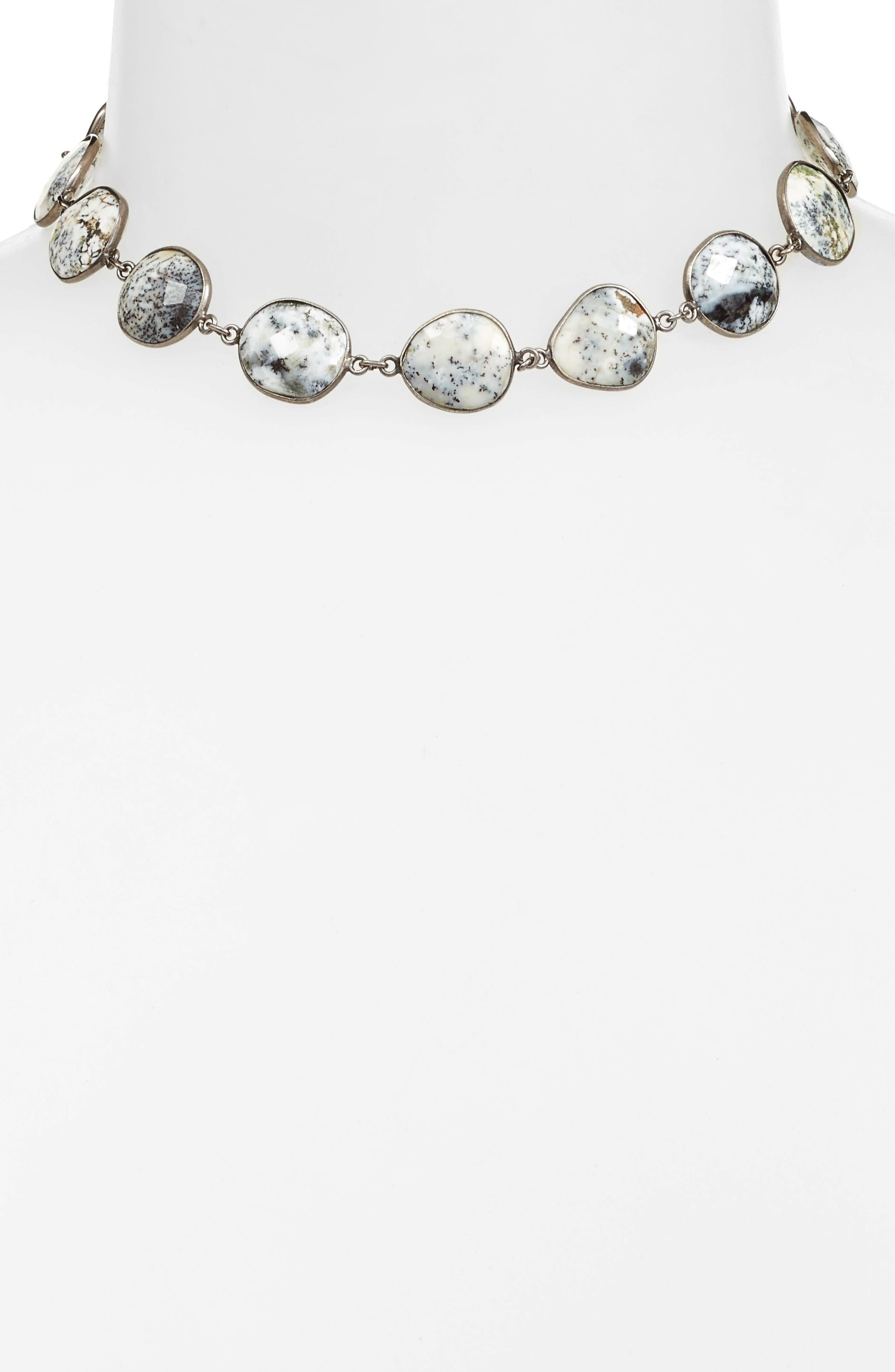 Suze Semiprecious Stone Collar Necklace,                             Alternate thumbnail 2, color,                             DENDRITE OPAL