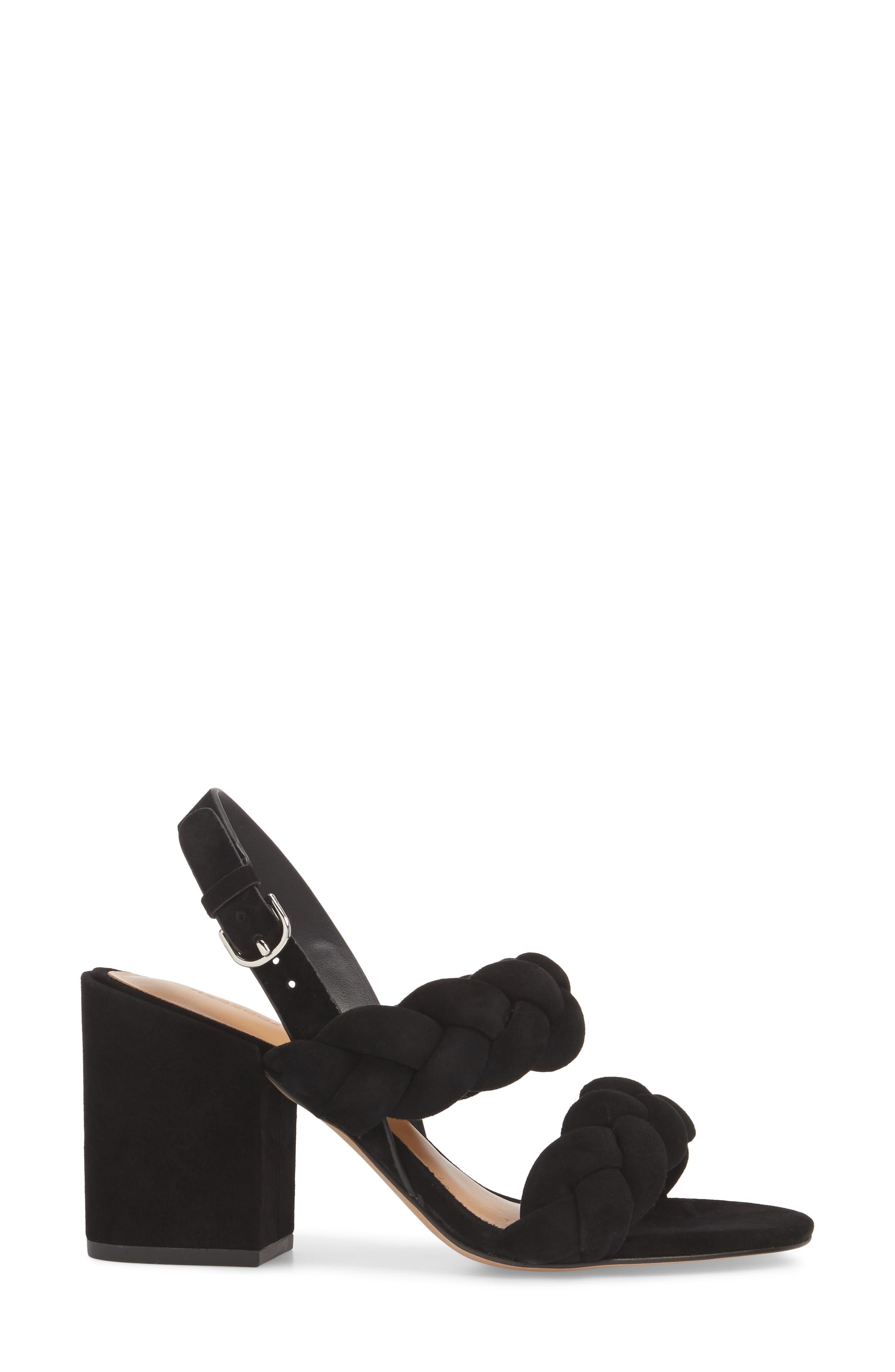Candance Block Heel Sandal,                             Alternate thumbnail 3, color,                             BLACK LEATHER