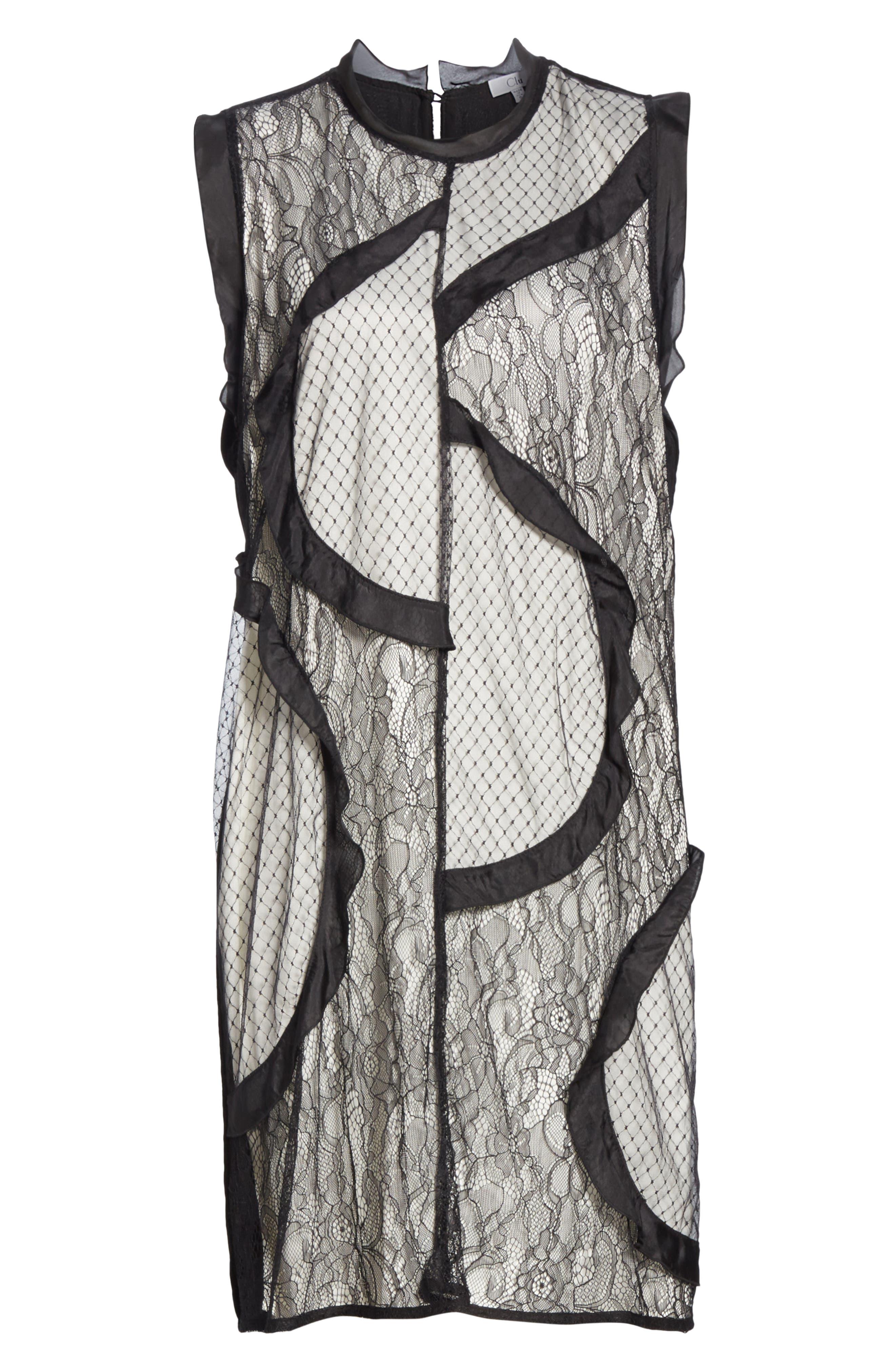 Mix Media Shift Dress,                             Alternate thumbnail 6, color,                             BLACK