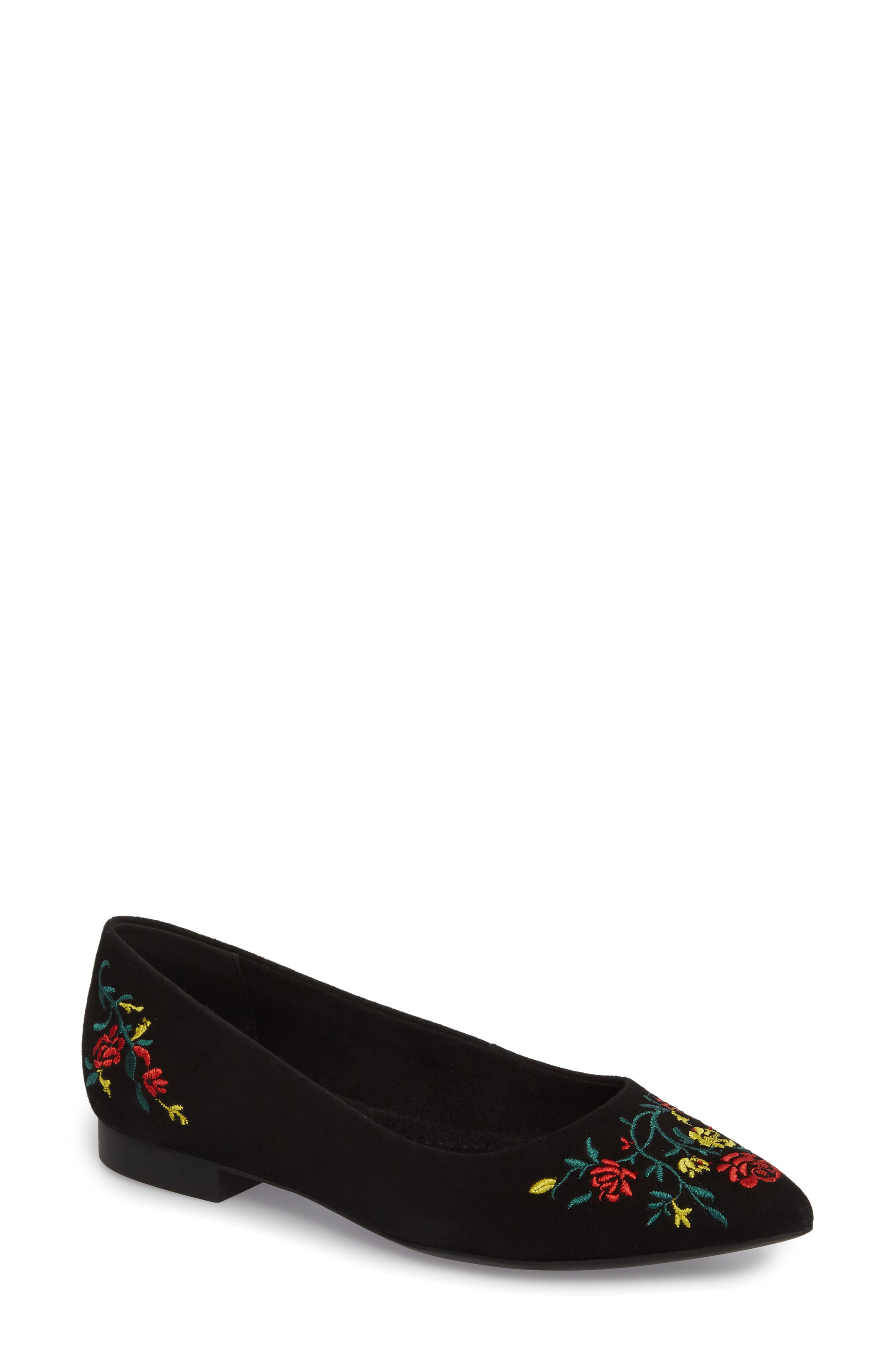 Vesper Embroidered Flat,                             Main thumbnail 1, color,                             BLACK SUEDE