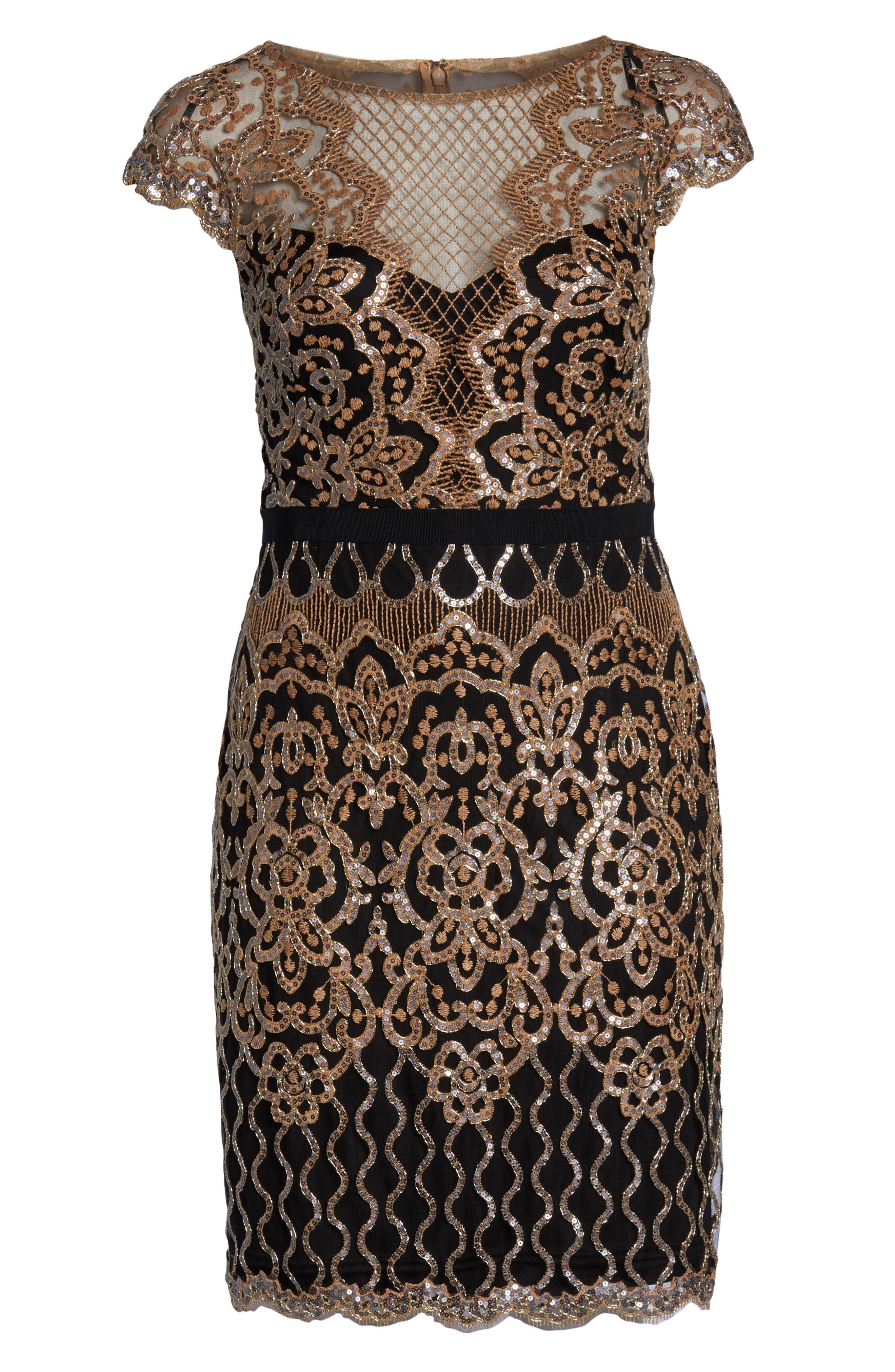 Sequin Embellished Dress,                             Alternate thumbnail 13, color,                             COPPER SHADOW/ BLACK