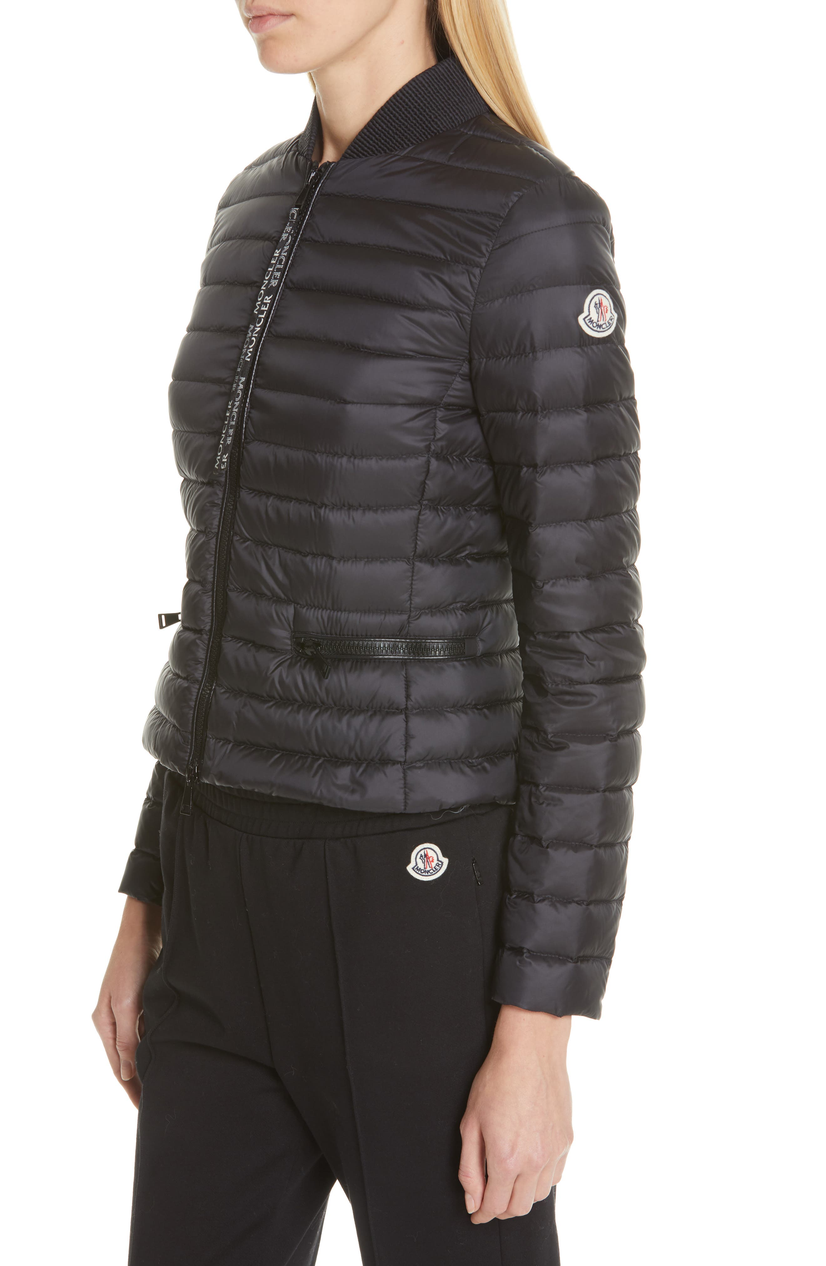 Blenca Quilted Down Jacket,                             Alternate thumbnail 4, color,                             BLACK