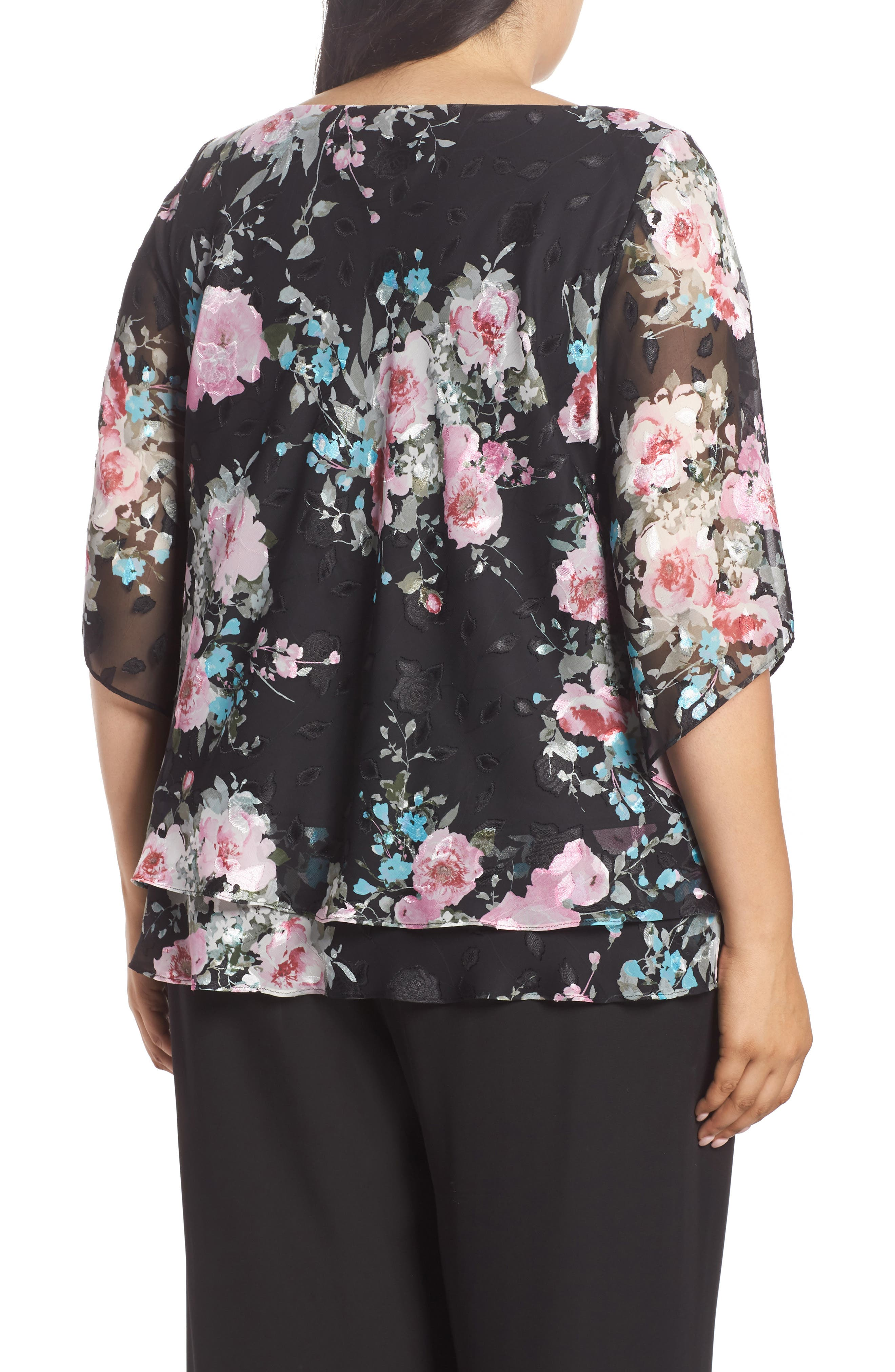 ALEX EVENINGS,                             Burnout Floral Blouse,                             Alternate thumbnail 2, color,                             015