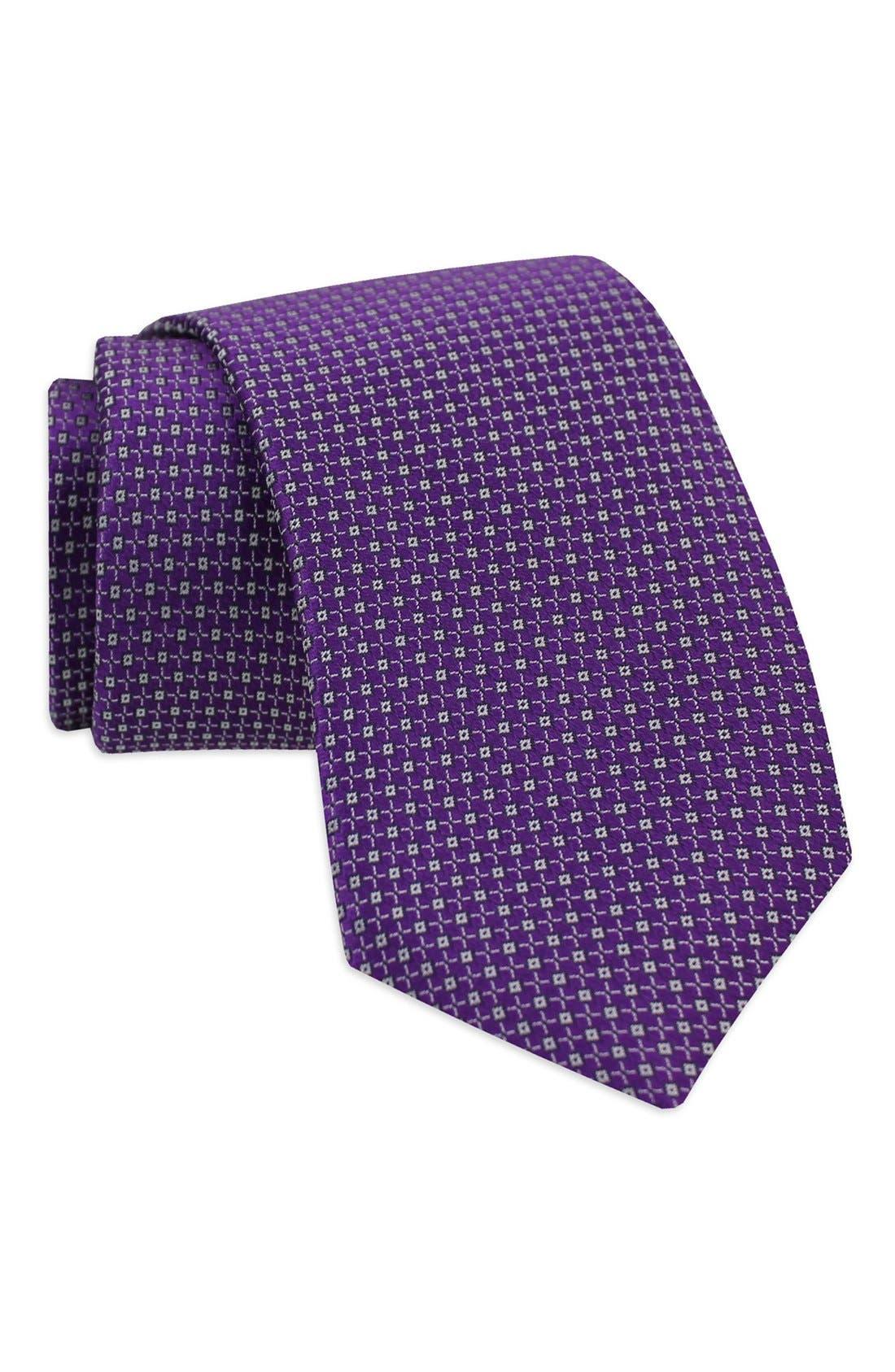 Geometric Woven Silk Tie,                             Alternate thumbnail 7, color,