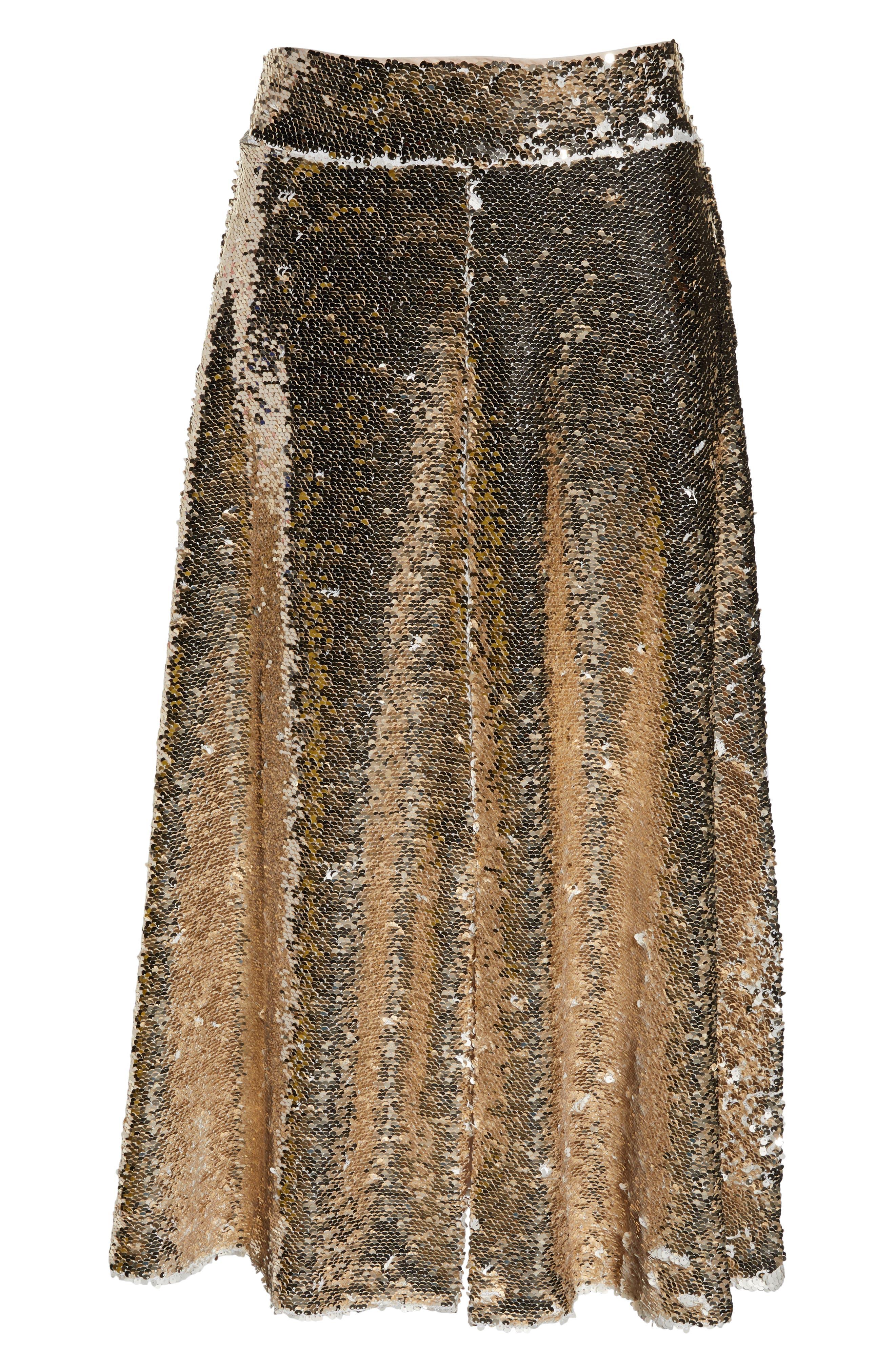 Sequin Embellished A-Line Skirt,                             Alternate thumbnail 7, color,                             GOLD