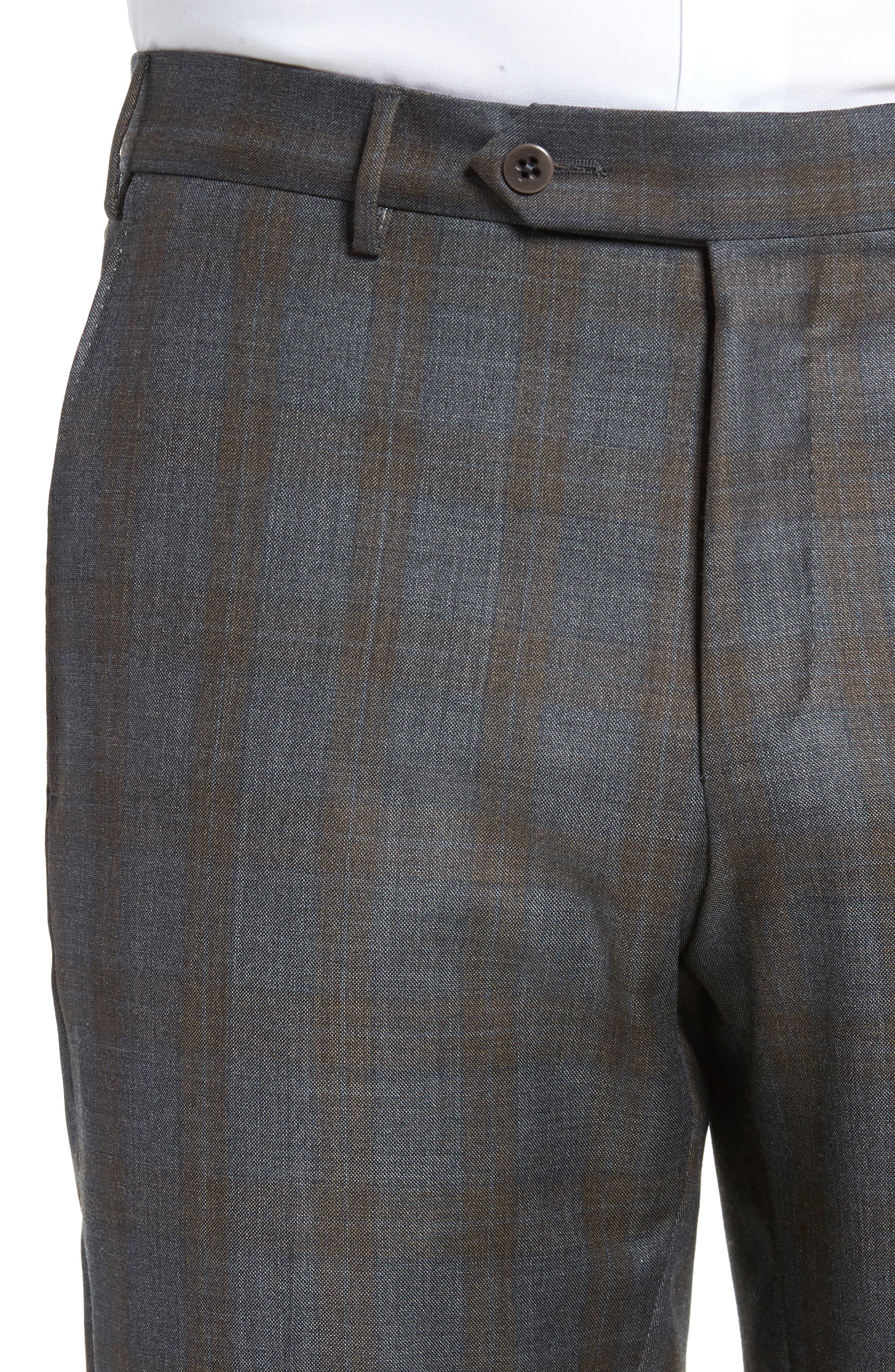 Parker Flat Front Plaid Wool Trousers,                             Alternate thumbnail 5, color,                             021
