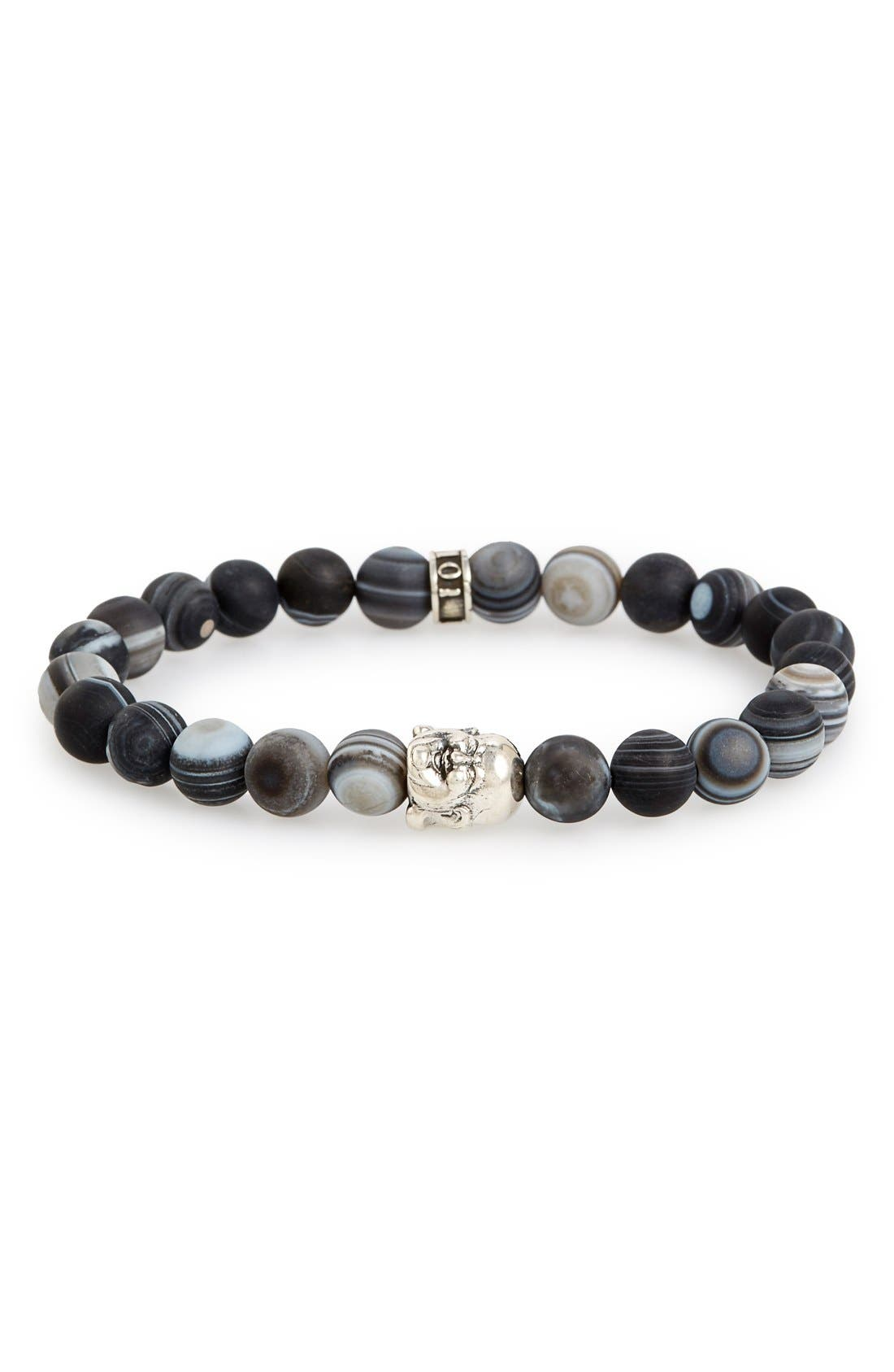 ROOM101,                             Frosted Agate Buddha Bead Bracelet,                             Main thumbnail 1, color,                             SILVER