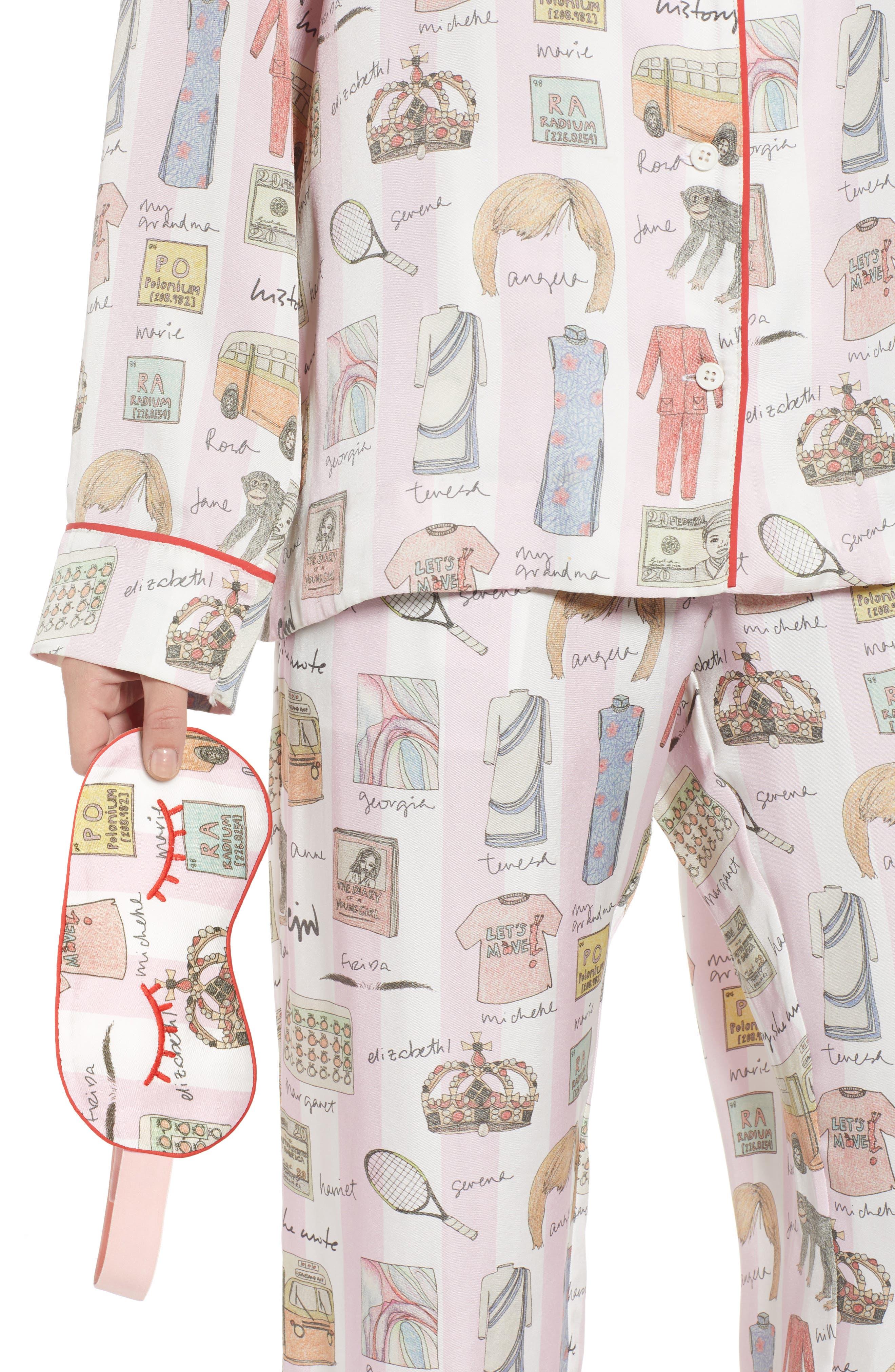 History, She Wrote Pajamas & Eye Mask,                             Alternate thumbnail 4, color,                             PINK