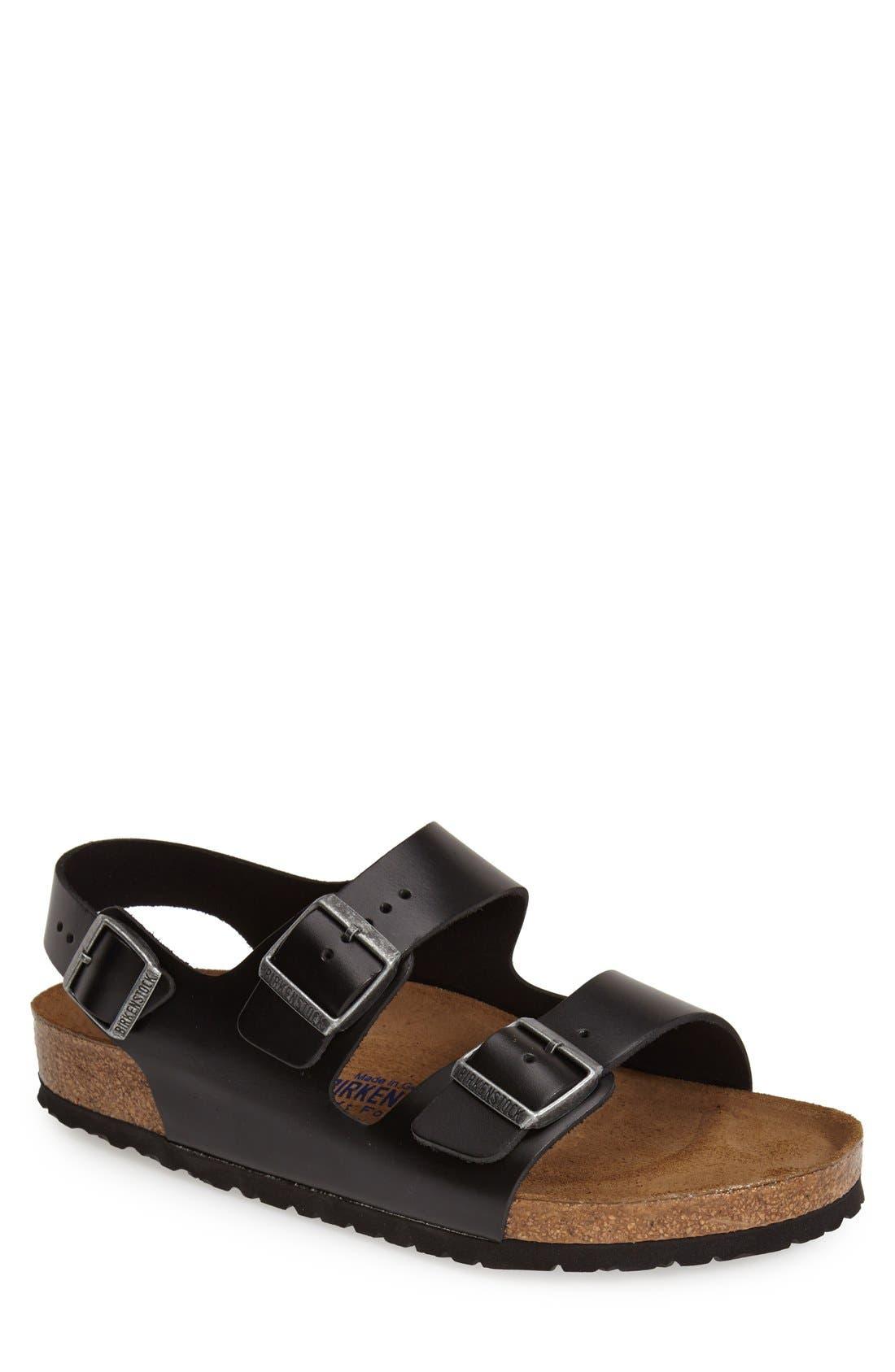 'Milano' Soft Footbed Sandal,                             Main thumbnail 1, color,                             AMALFI BLACK