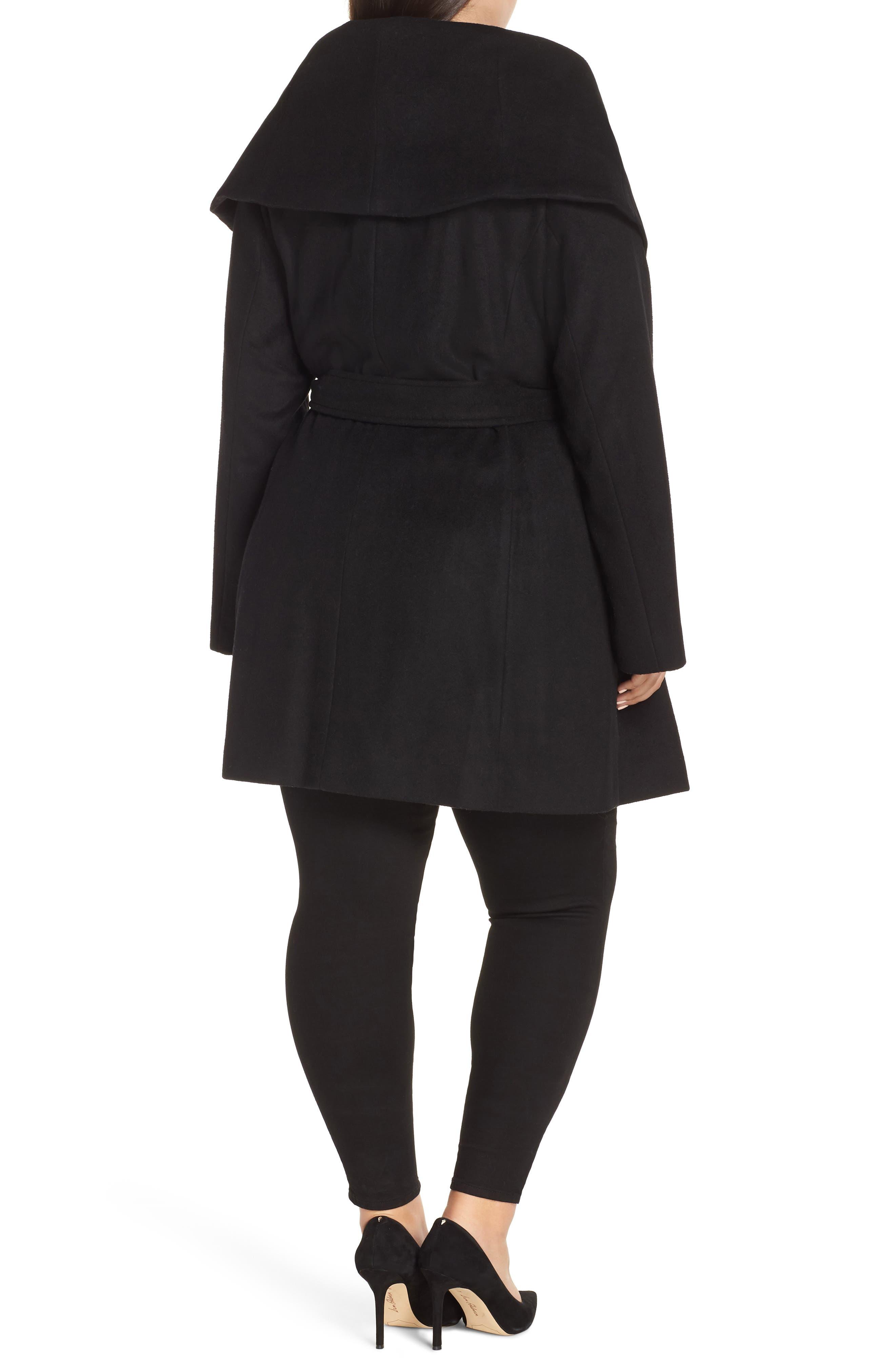Marla Cutaway Wrap Coat with Oversize Collar,                             Alternate thumbnail 2, color,                             002