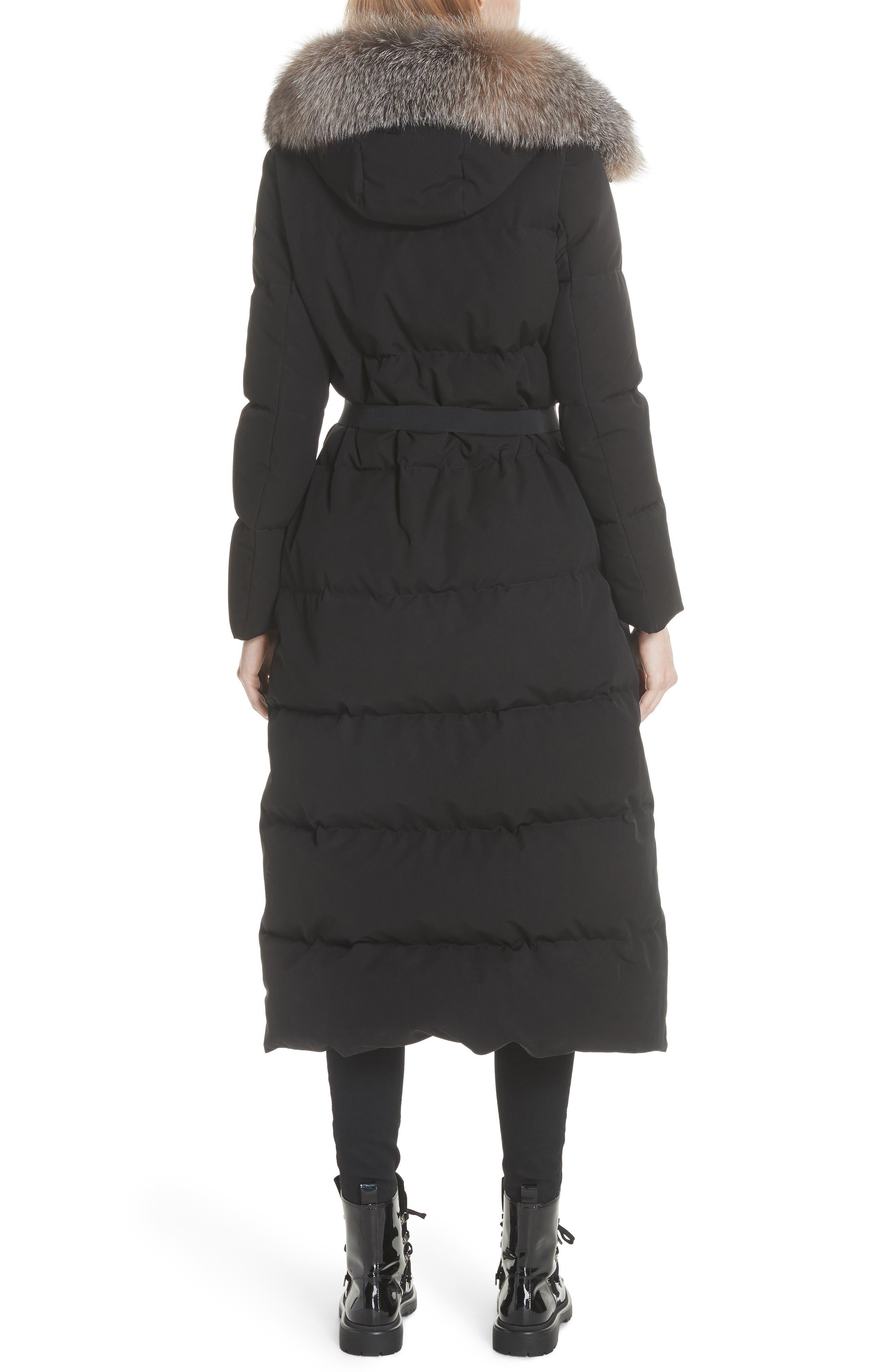 Bernache Hooded Down Coat with Removable Genuine Fox Fur Trim,                             Alternate thumbnail 2, color,                             BLACK