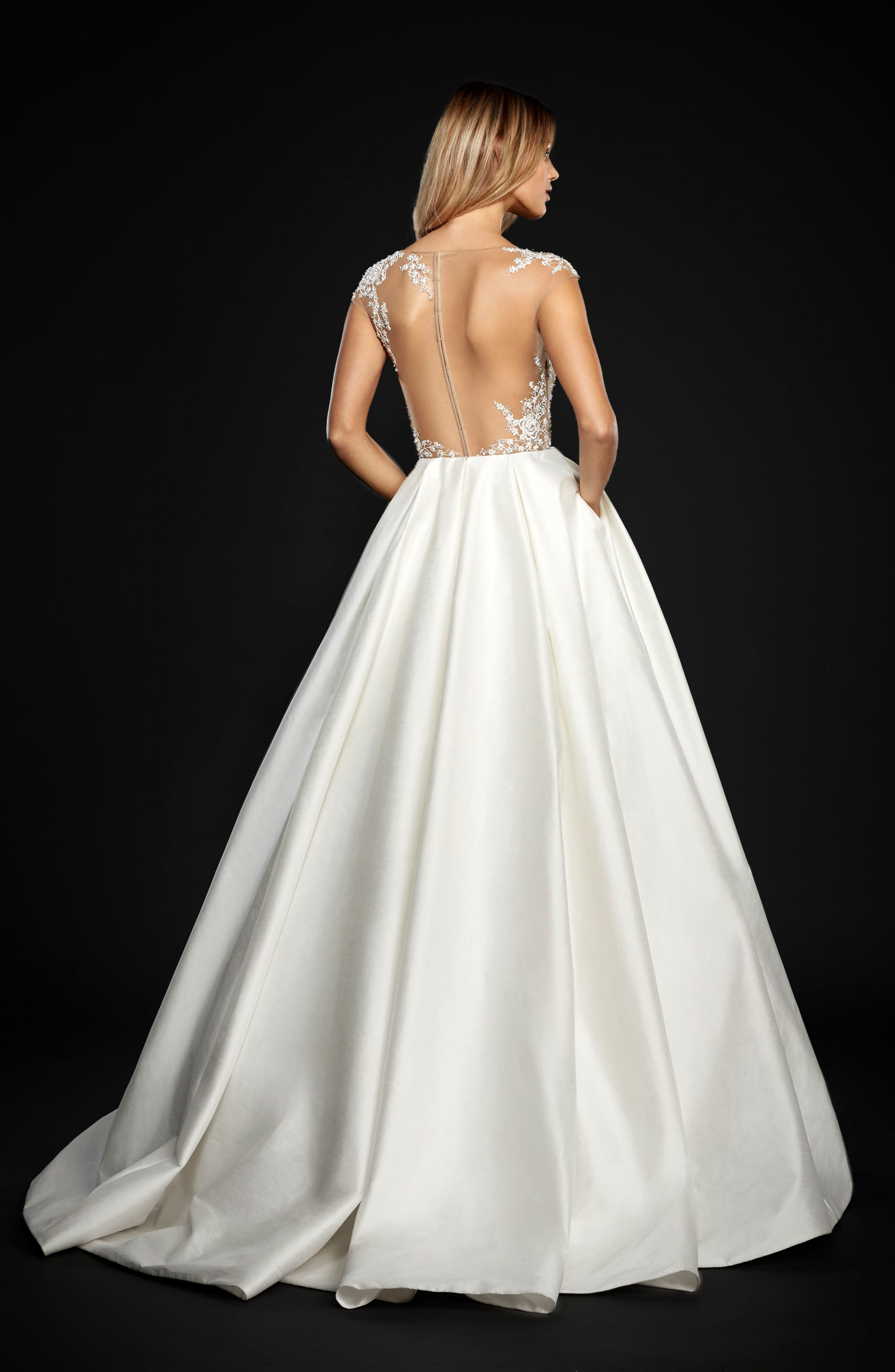 Chandler Floral Embroidered Illusion Ballgown,                             Alternate thumbnail 2, color,                             IVORY