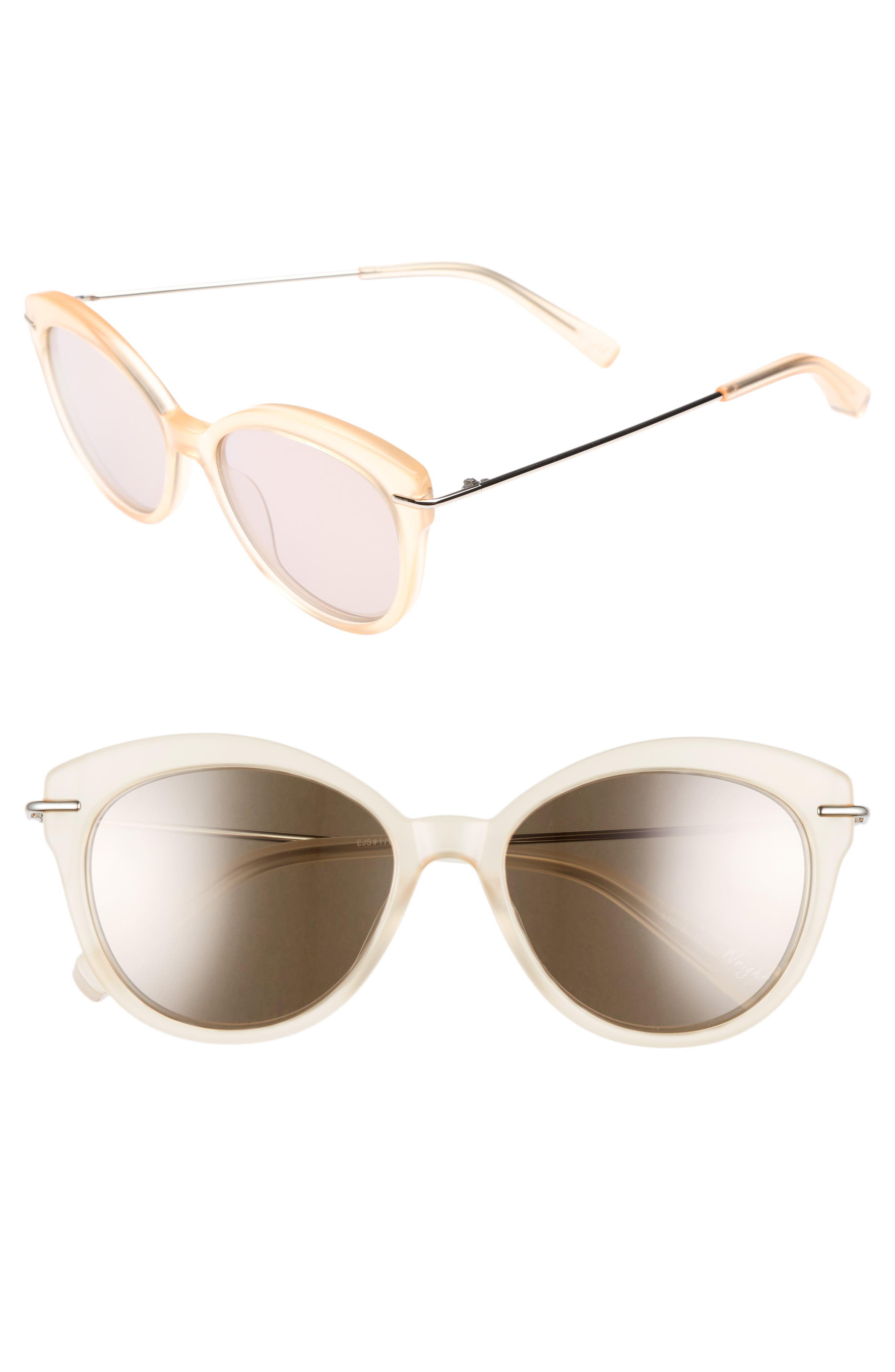ELIZABETH AND JAMES Wright 53mm Cat Eye Sunglasses, Main, color, 001
