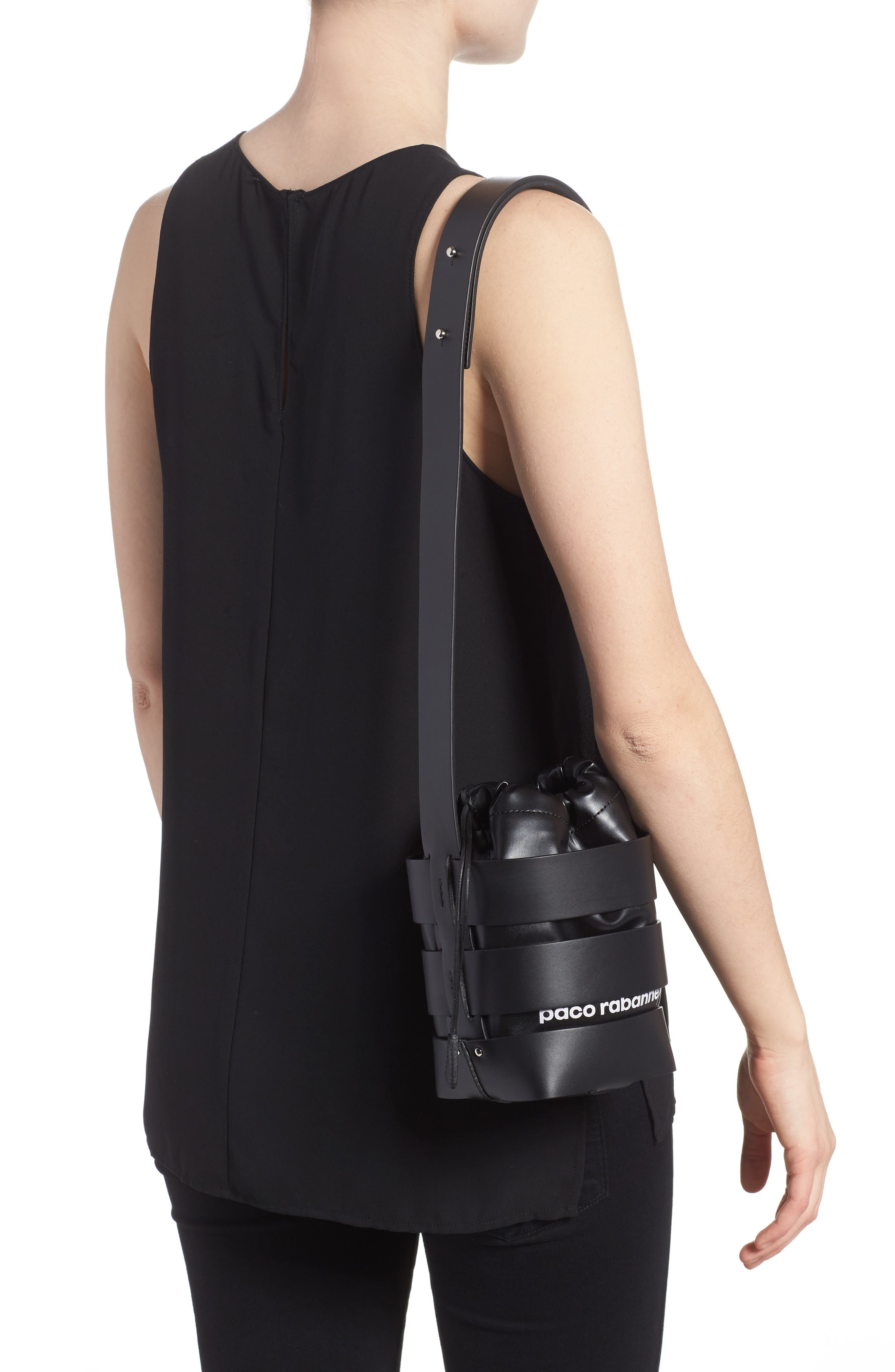 Small Mirror Cage Faux Leather Hobo Bag,                             Alternate thumbnail 2, color,                             BLACK