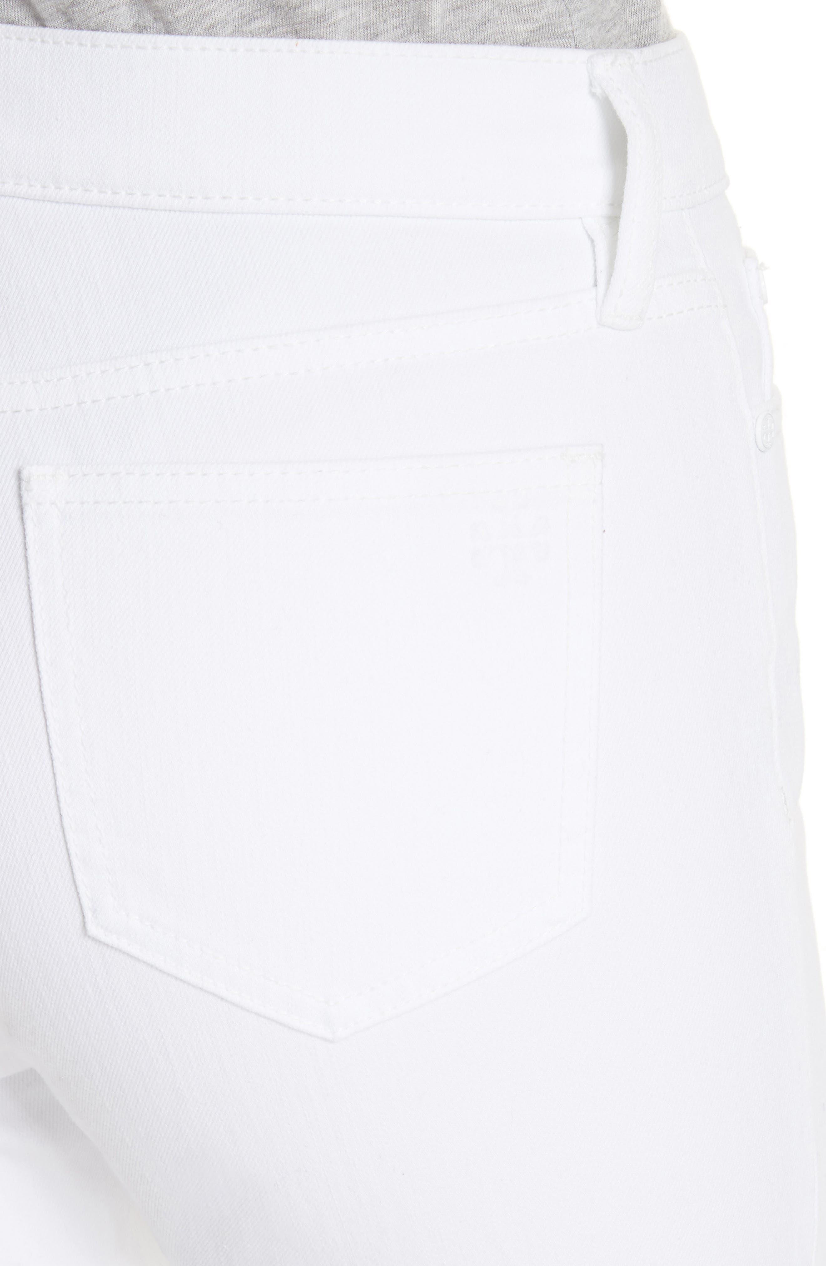 Keira Eyelet Hem Crop Jeans,                             Alternate thumbnail 4, color,                             100