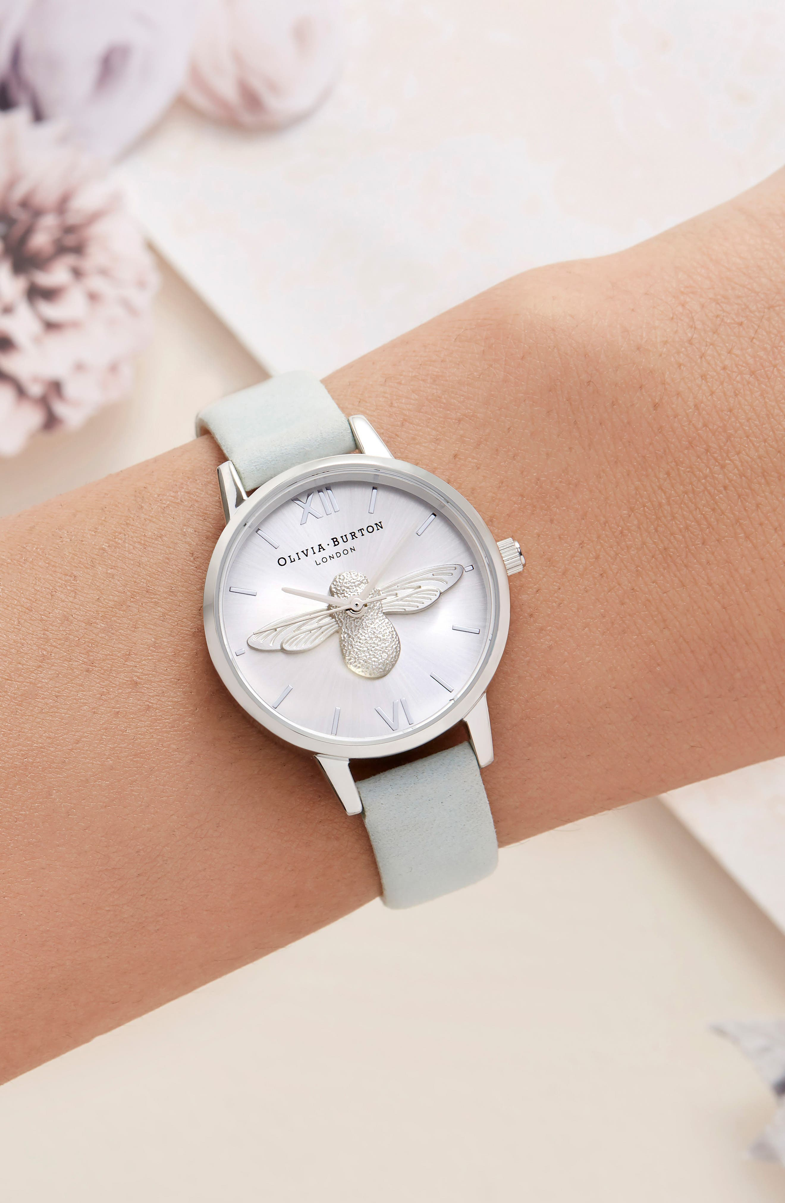 3D Bee Leather Strap Watch, 30mm,                             Alternate thumbnail 2, color,                             SAGE/ BEE/ SILVER