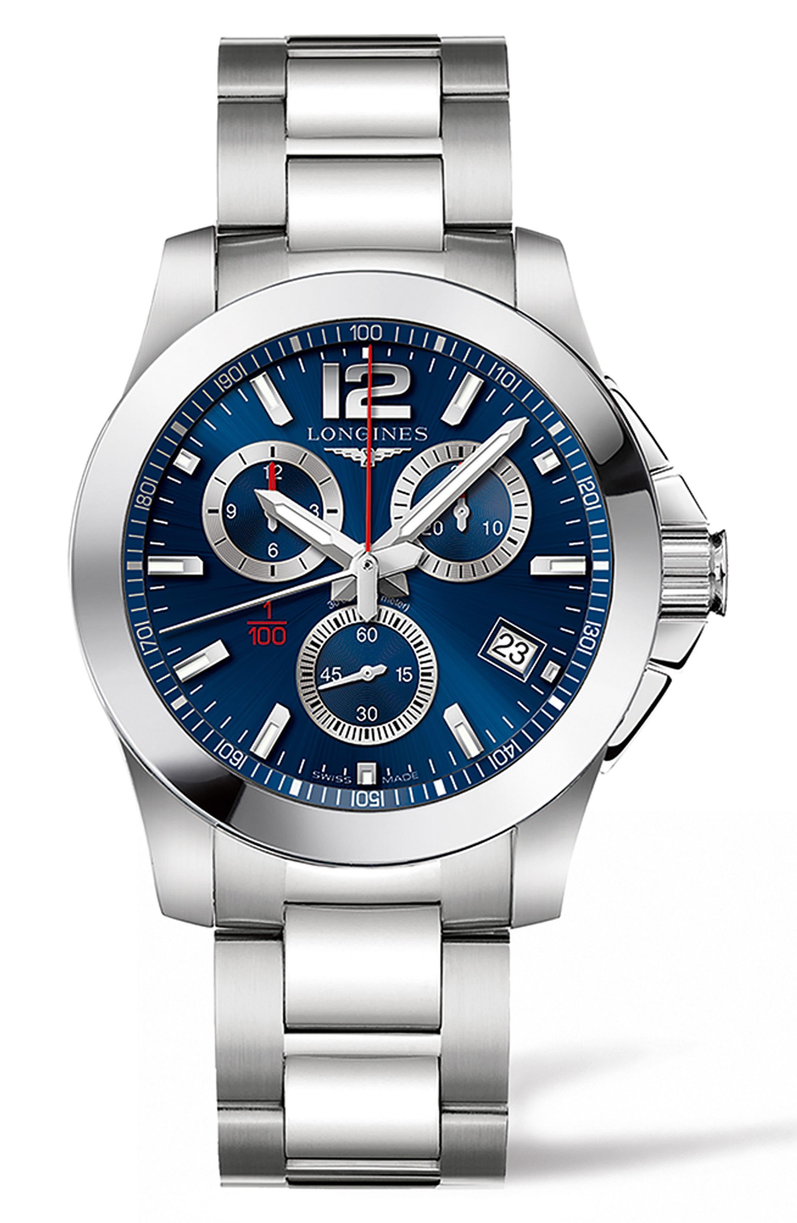 Conquest Chronograph Bracelet Watch, 41mm,                         Main,                         color, SILVER/ BLUE/ SILVER