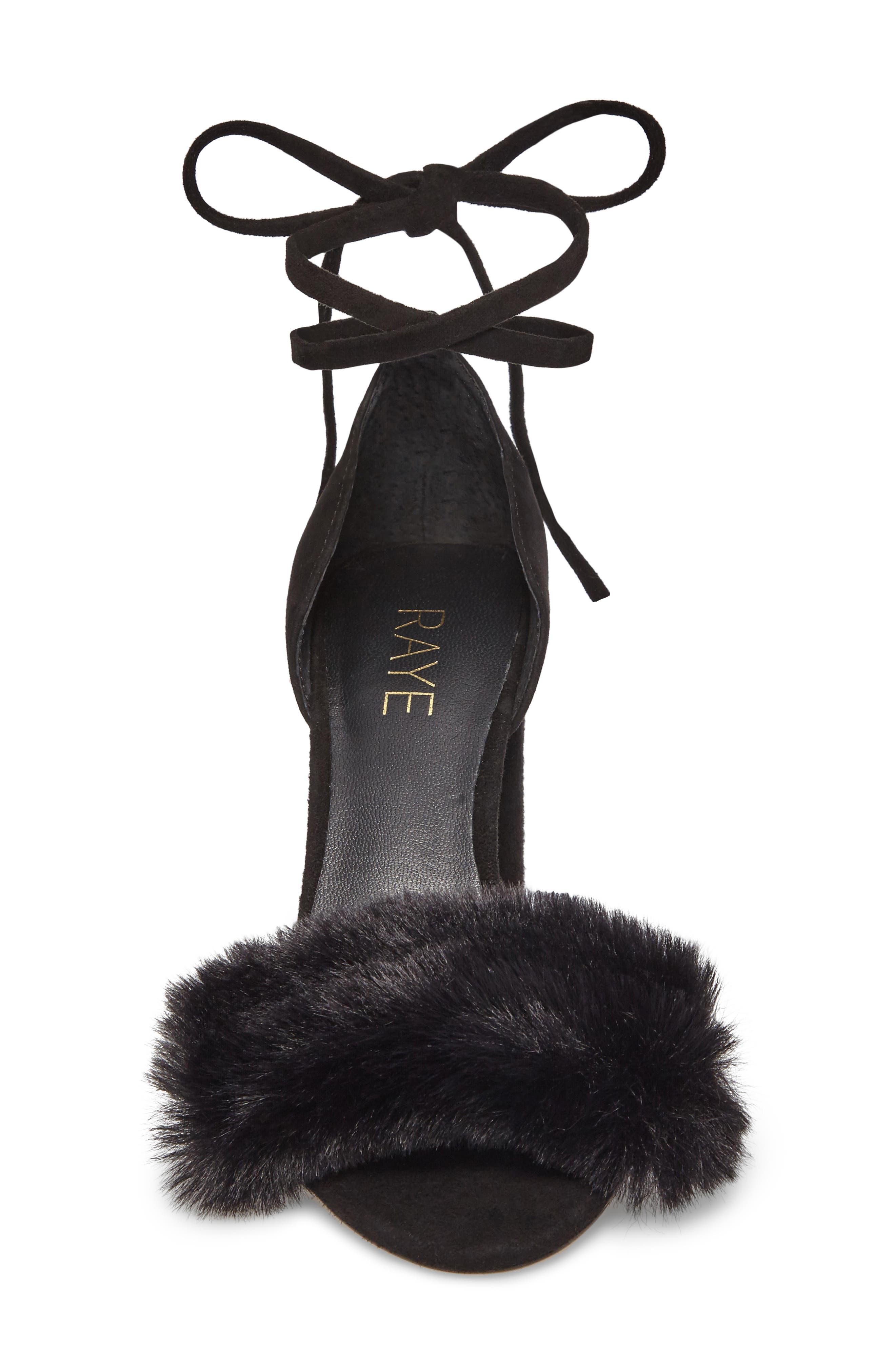 Lacey Faux Fur Sandal,                             Alternate thumbnail 4, color,                             003