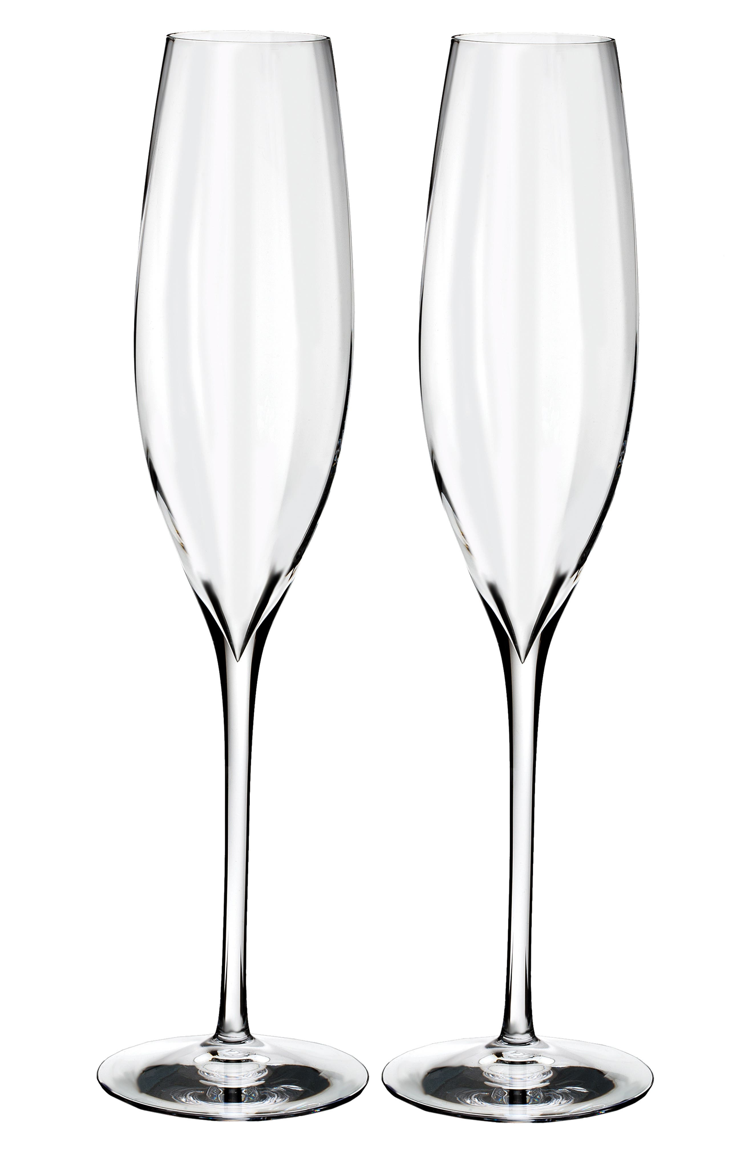 Elegance Optic Classic Set of 2 Lead Crystal Champagne Flutes,                             Main thumbnail 1, color,                             CRYSTAL