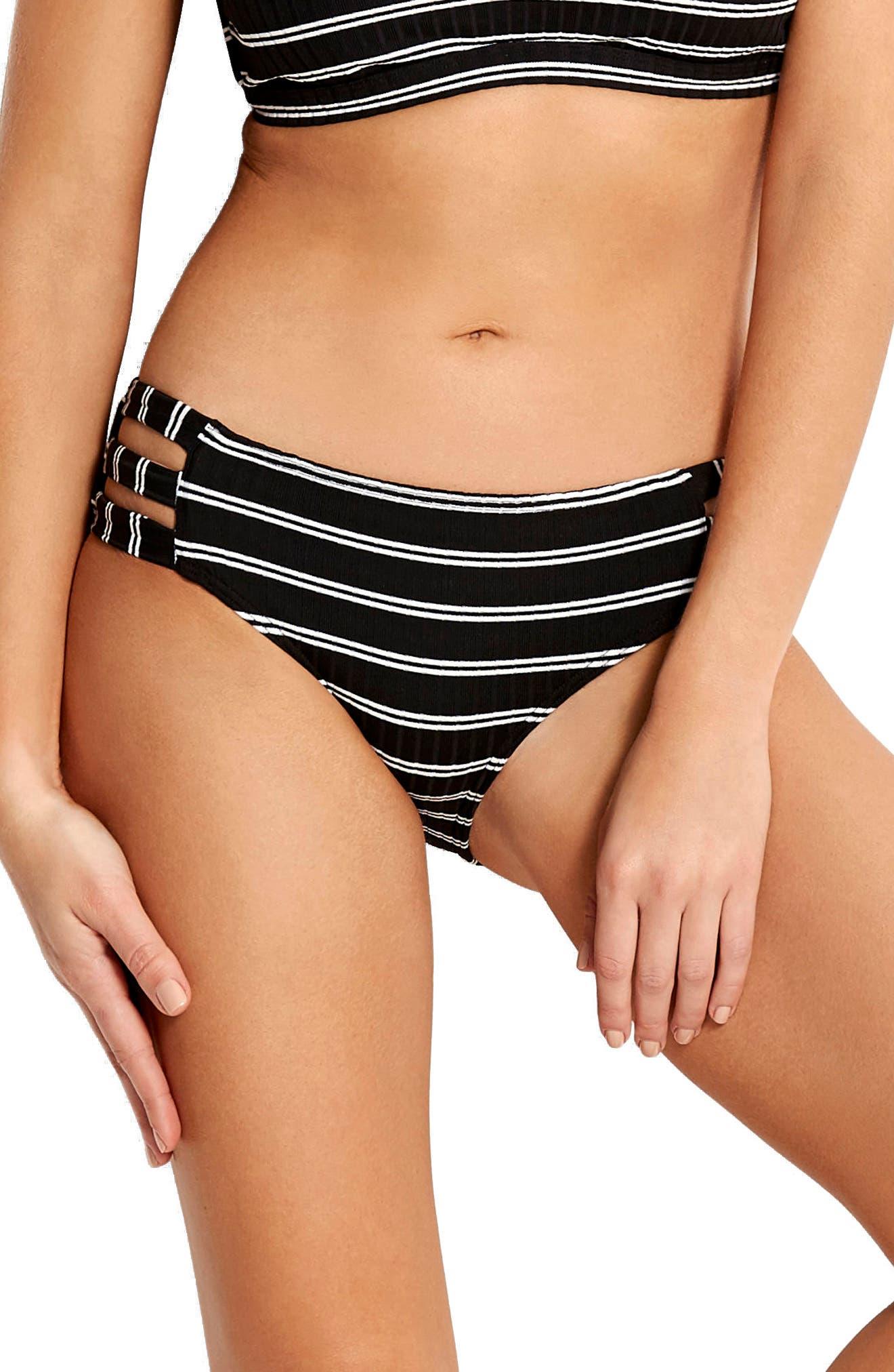 Inka Stripe Hipster Bikini Bottoms,                             Main thumbnail 1, color,                             001