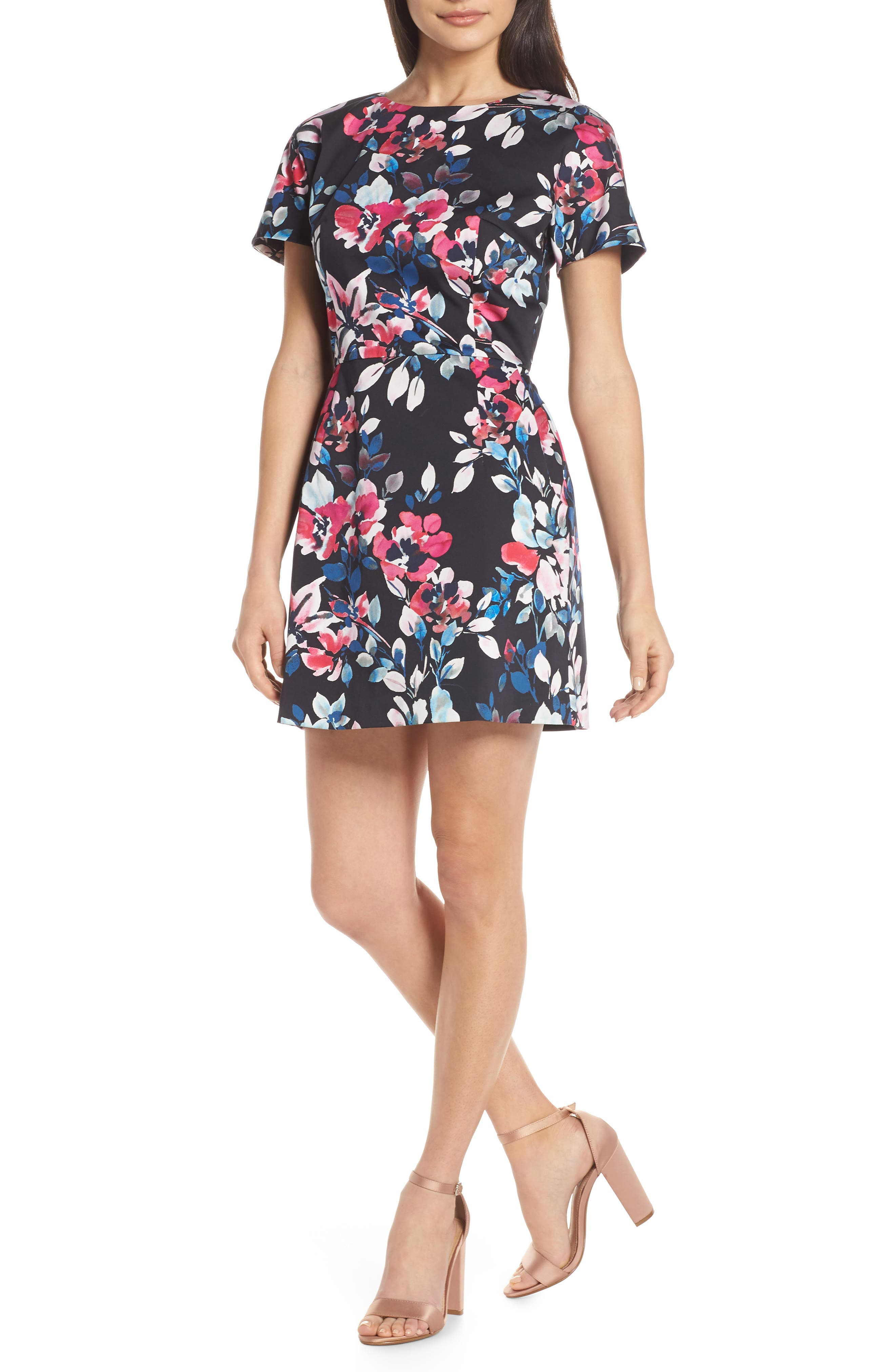 French Connection Linosa Floral Minidress, Blue