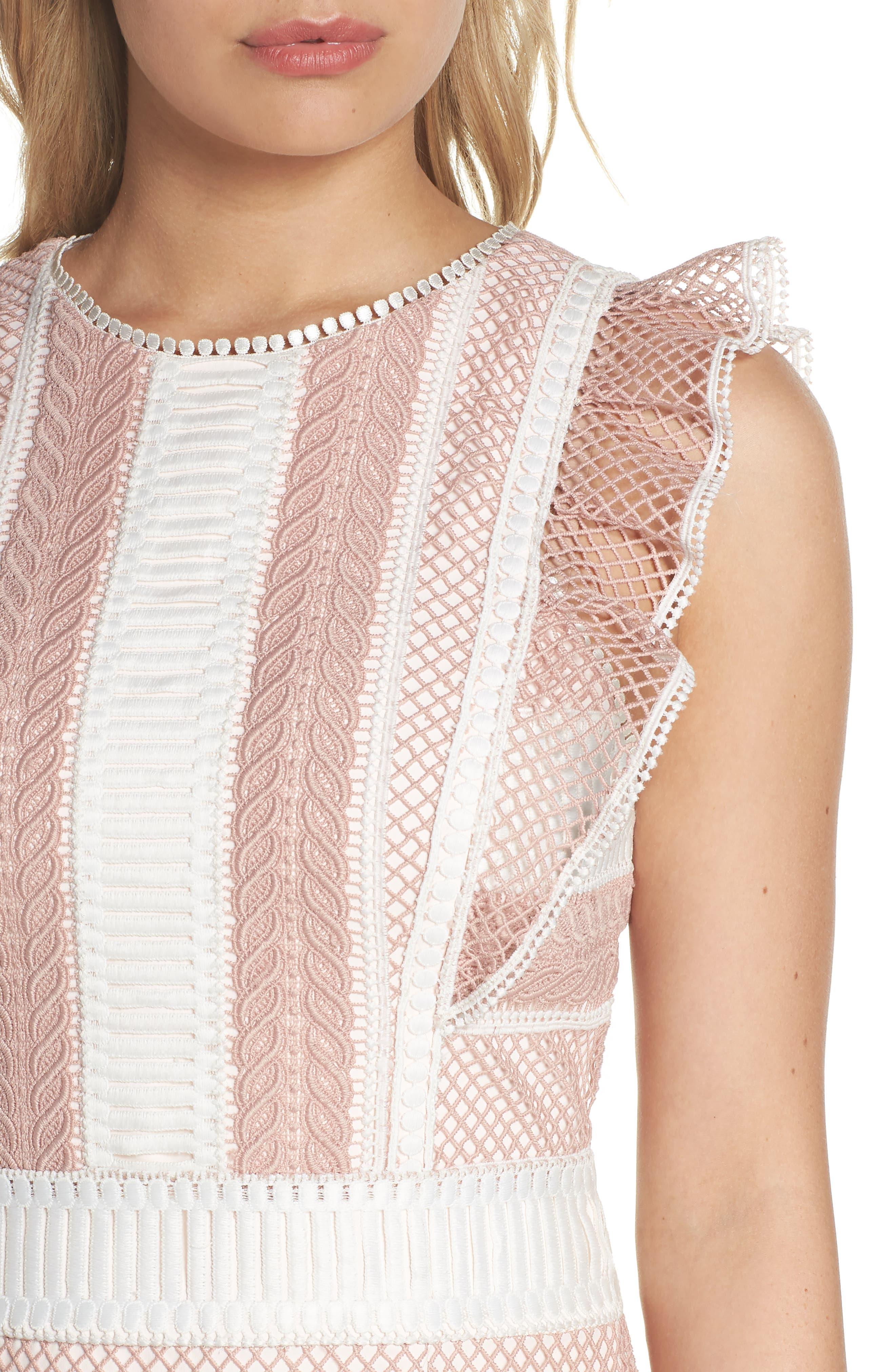 Kingston Stripe Lace Sheath Dress,                             Alternate thumbnail 4, color,                             661