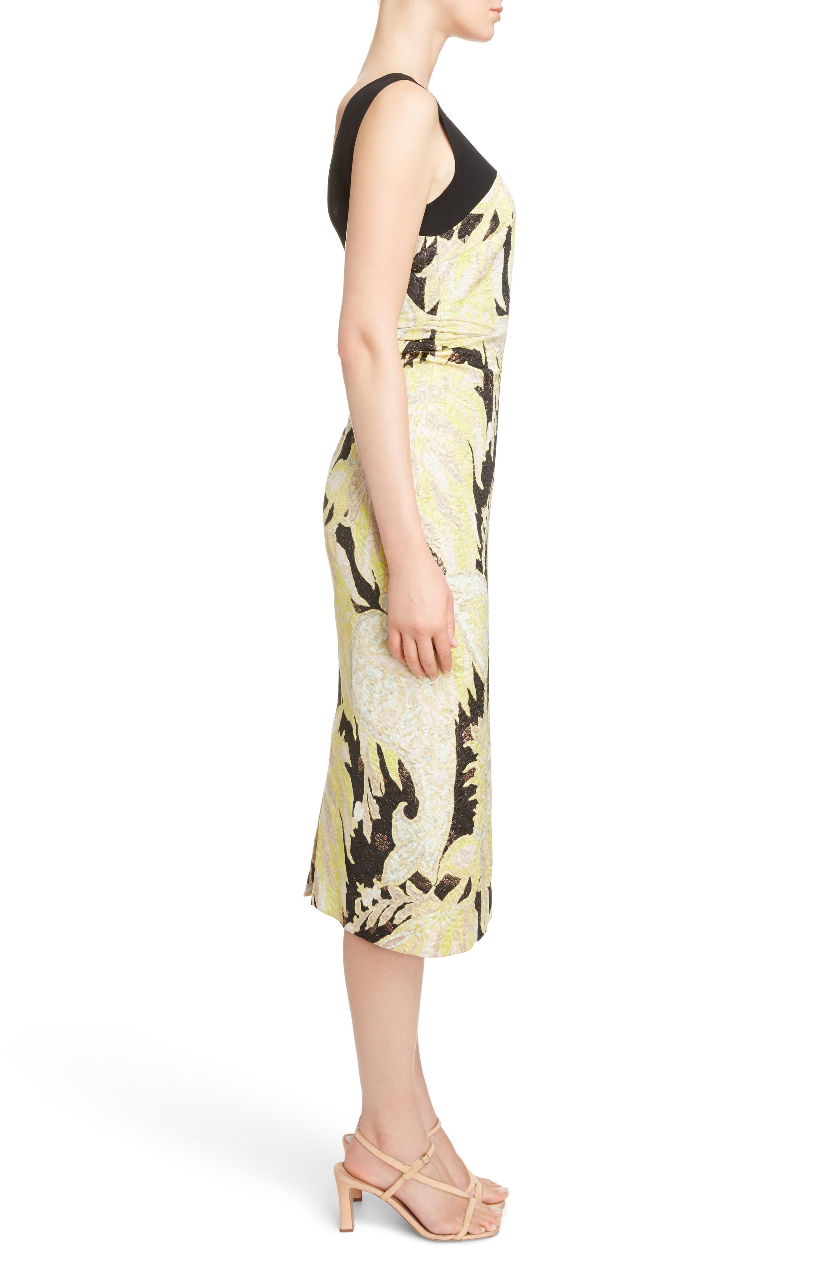 Illusion Paisley Brocade Dress,                             Alternate thumbnail 3, color,
