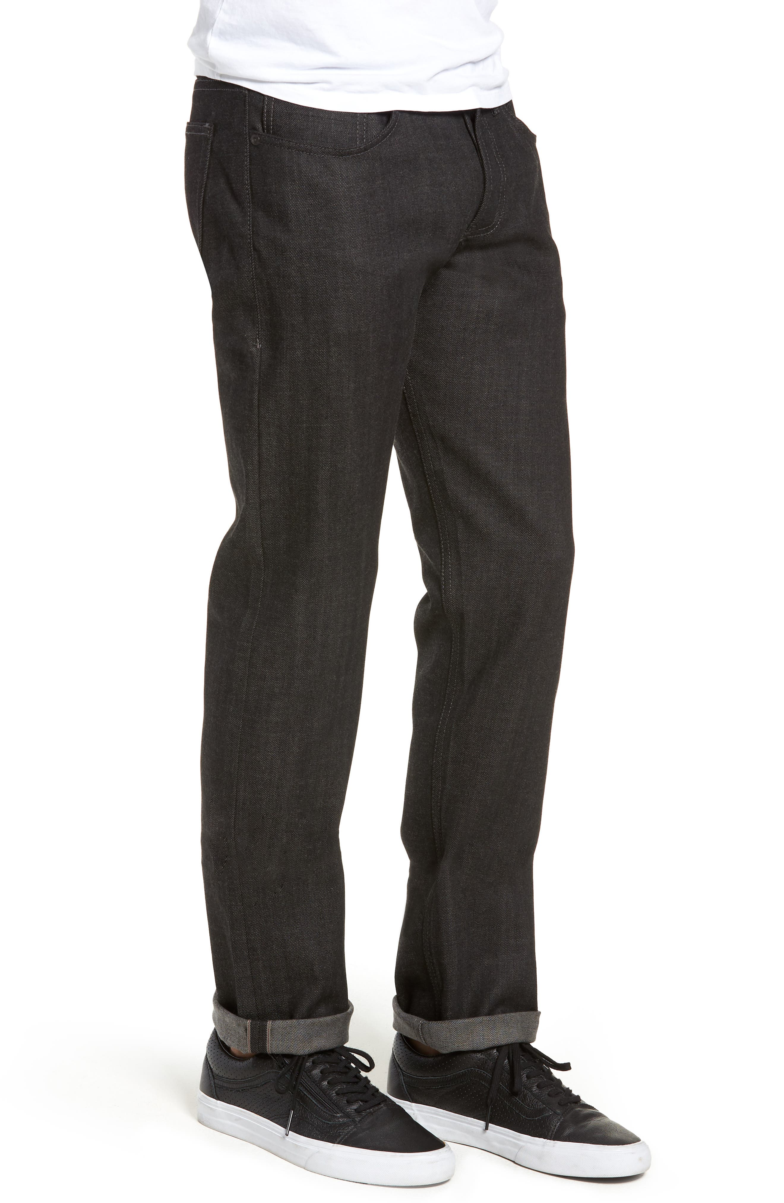 Weird Guy Slim Fit Jeans,                             Alternate thumbnail 3, color,                             BLACK X GREY STRETCH SELVEDGE