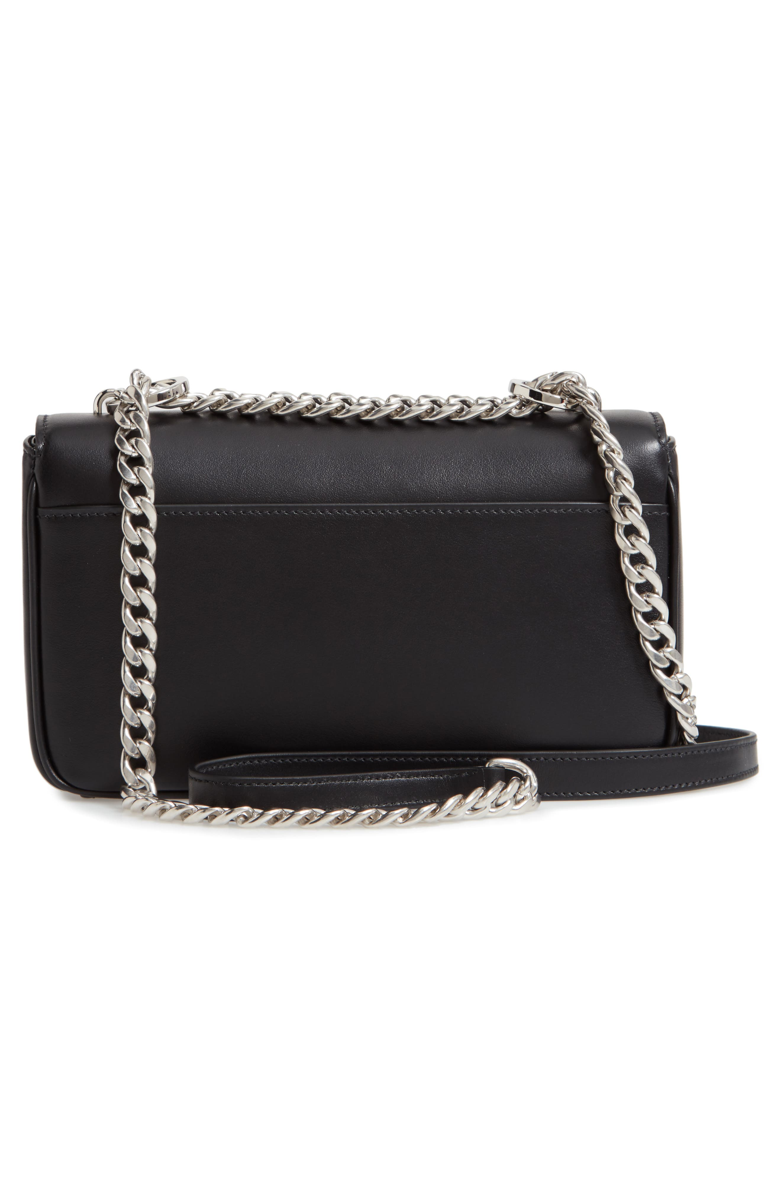 Flap Leather Crossbody Bag with Stripe,                             Alternate thumbnail 3, color,                             NERO
