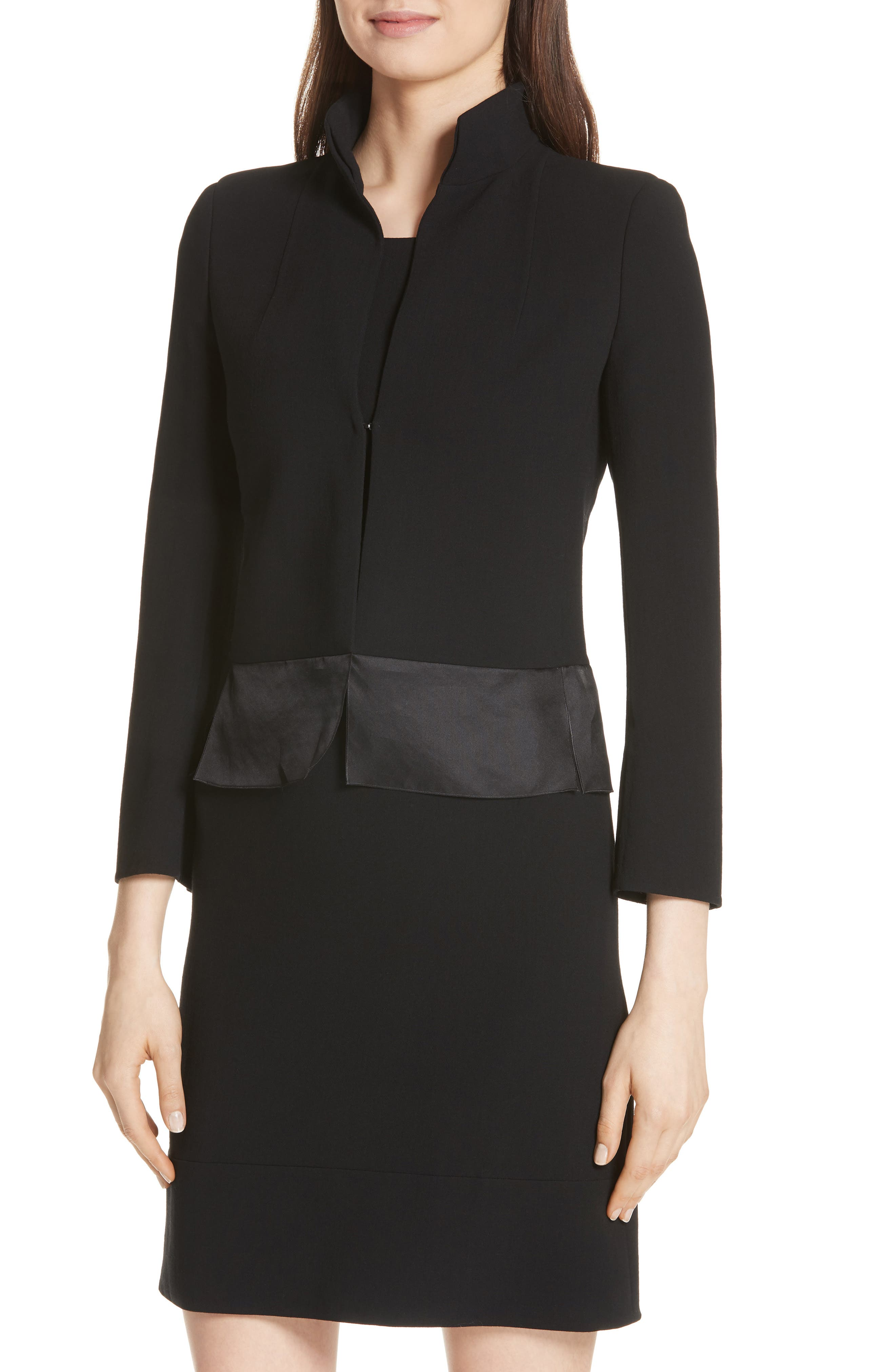 Ilke Double Face Wool Blend Jacket,                             Alternate thumbnail 4, color,                             BLACK
