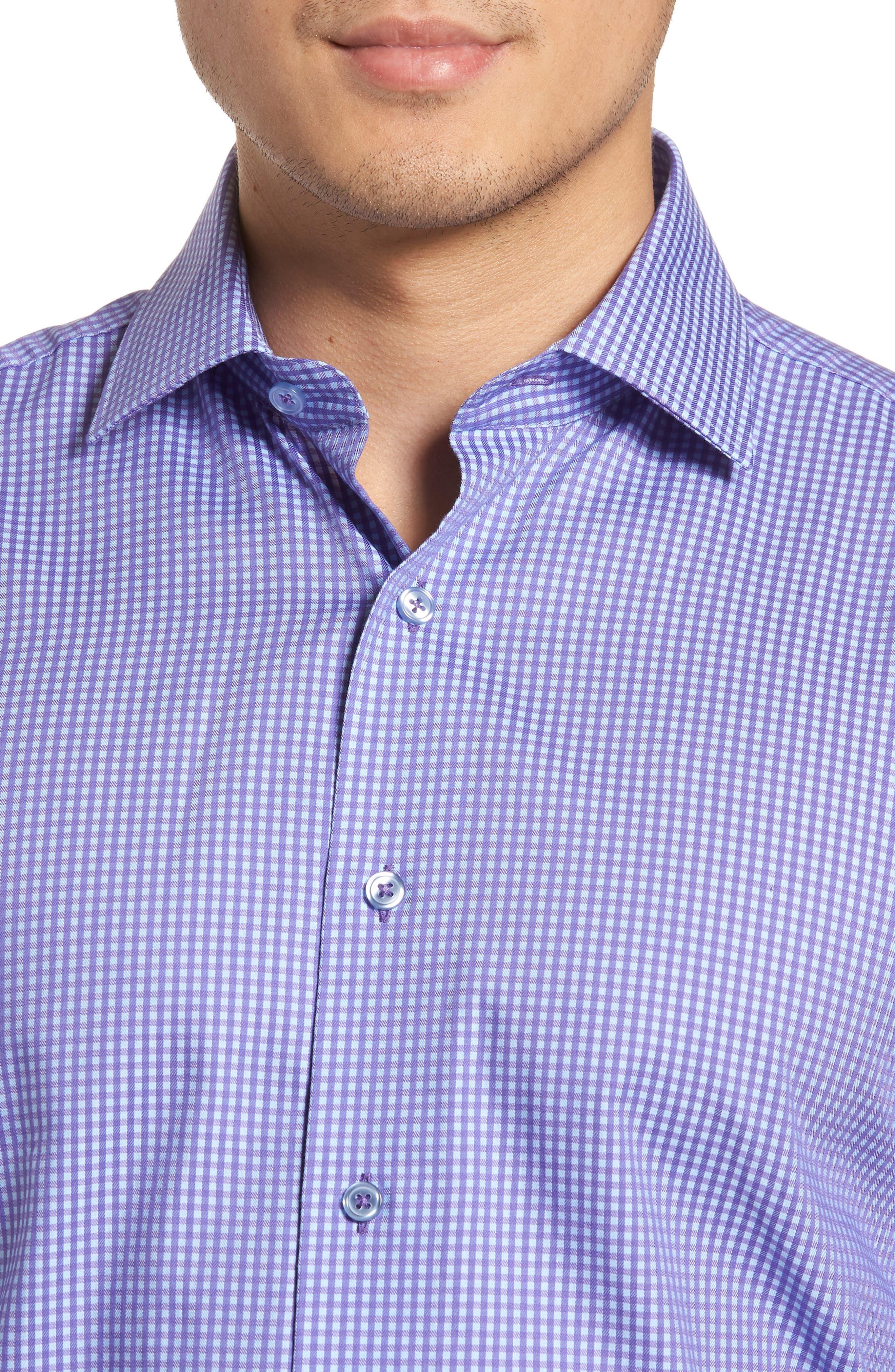 Trim Fit Mini Check Dress Shirt,                             Alternate thumbnail 2, color,                             PURPLE
