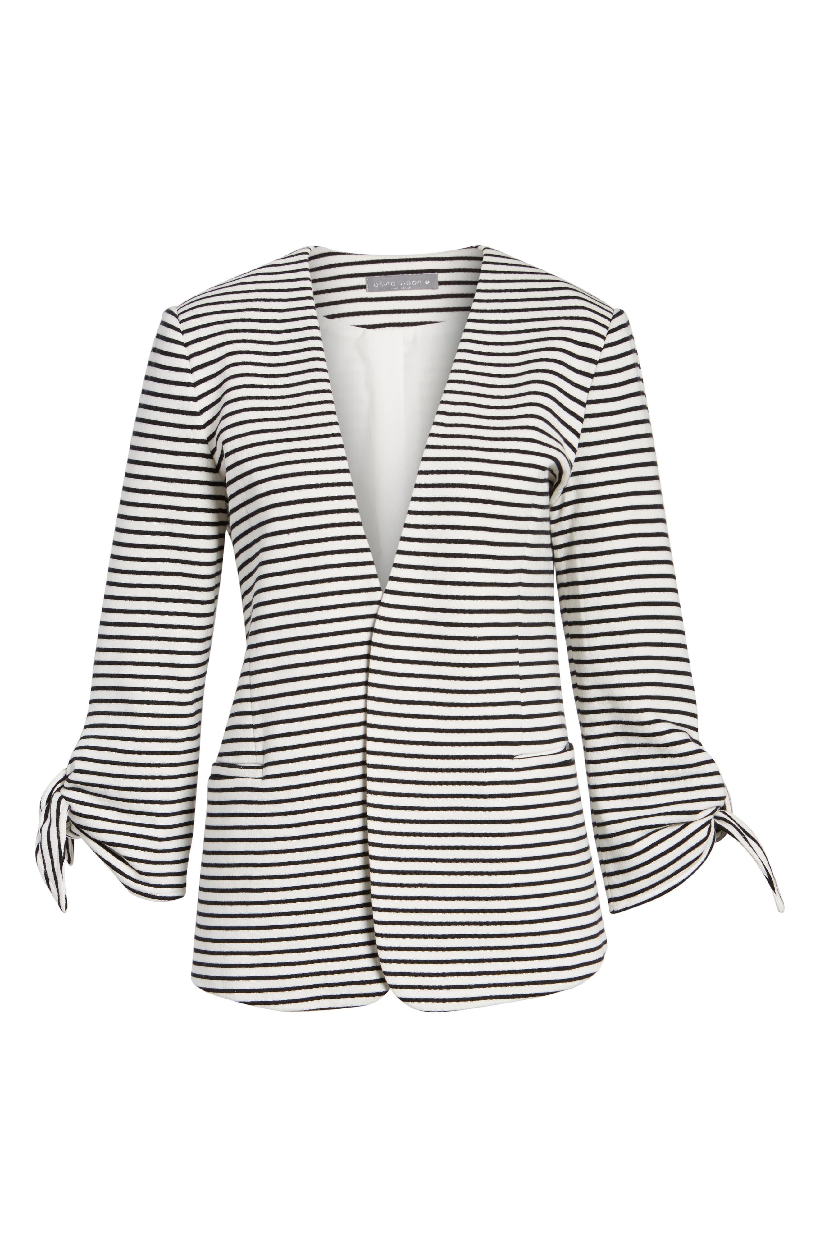 Tie Sleeve Knit Blazer,                             Alternate thumbnail 6, color,                             008