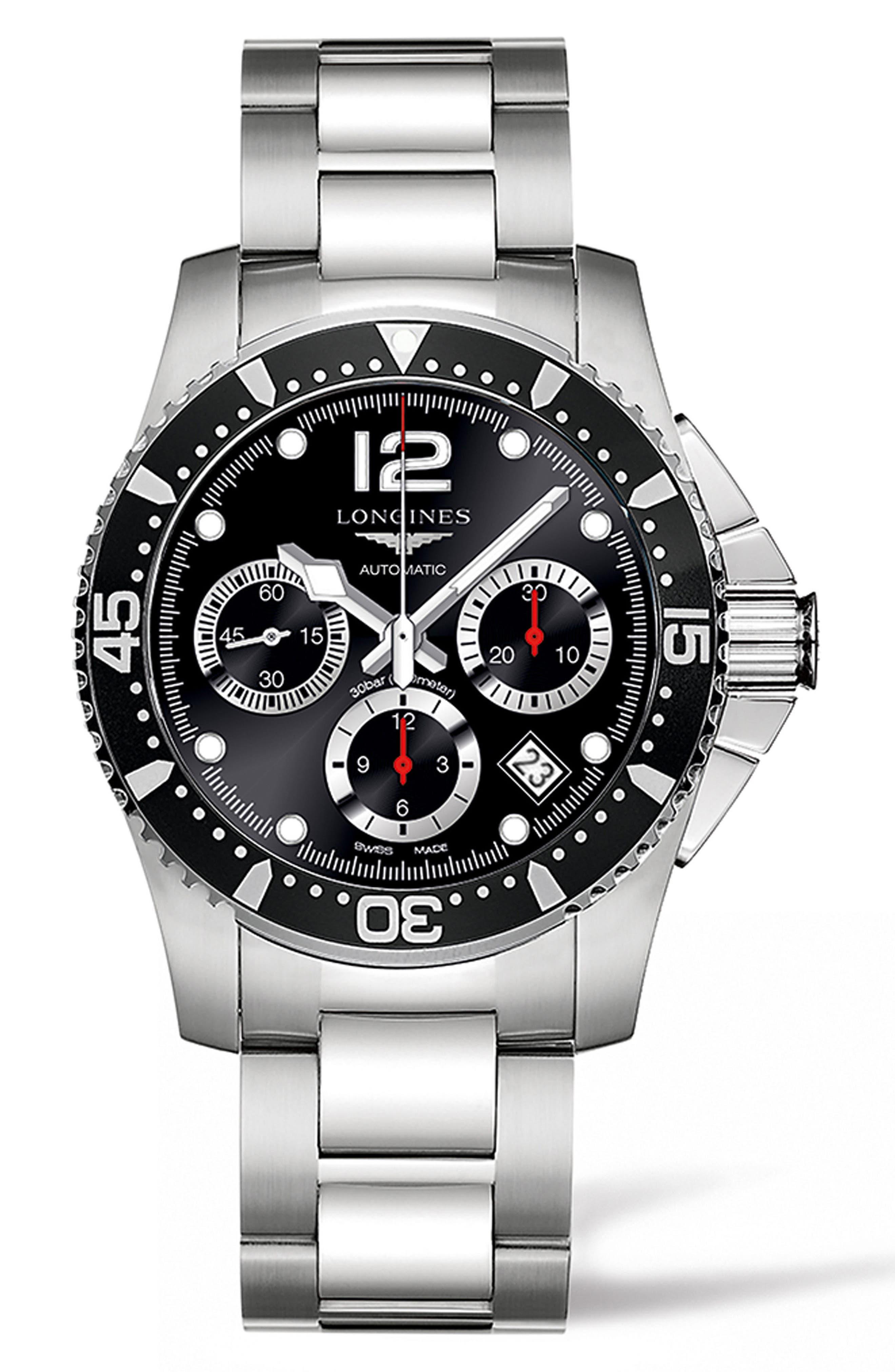 HydroConquest Automatic Bracelet Watch, 41mm,                             Main thumbnail 1, color,                             SILVER/ BLACK/ SILVER