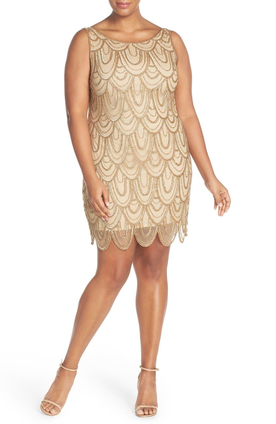 Beaded Sheath Dress,                             Alternate thumbnail 24, color,