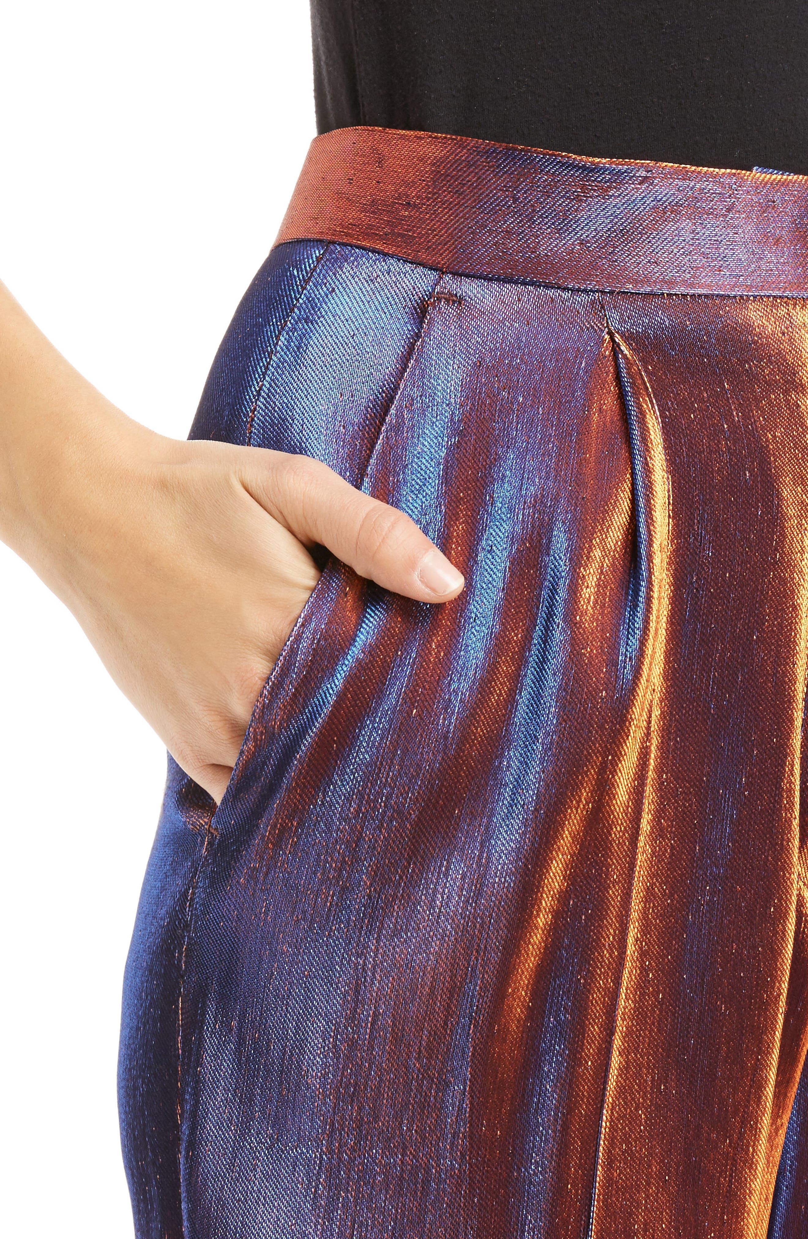 Two-Tone Lamé Crop Trousers,                             Alternate thumbnail 4, color,                             800