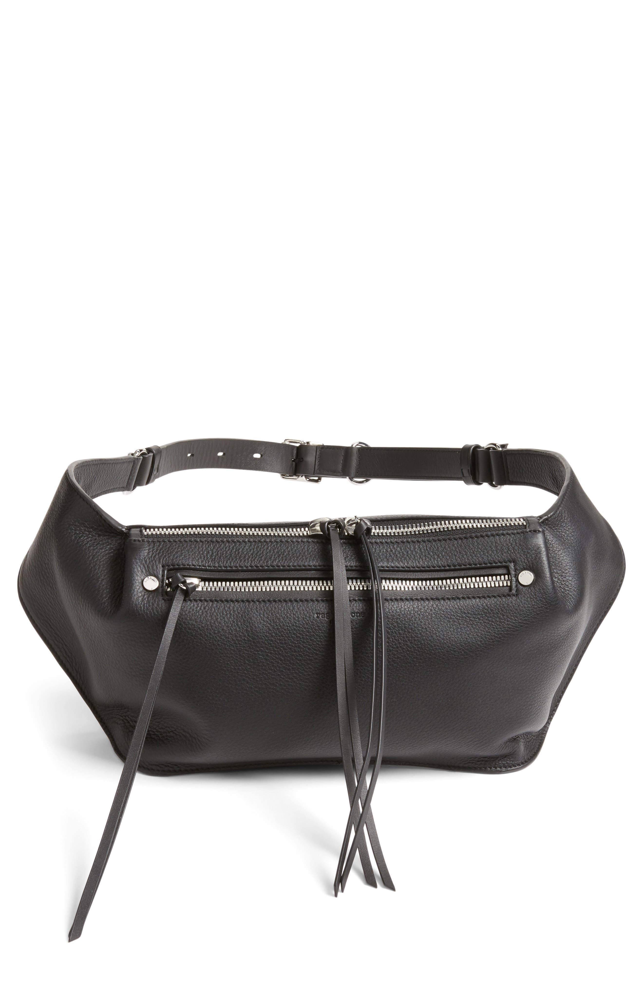 Leather Belt Bag,                             Main thumbnail 1, color,                             BLACK