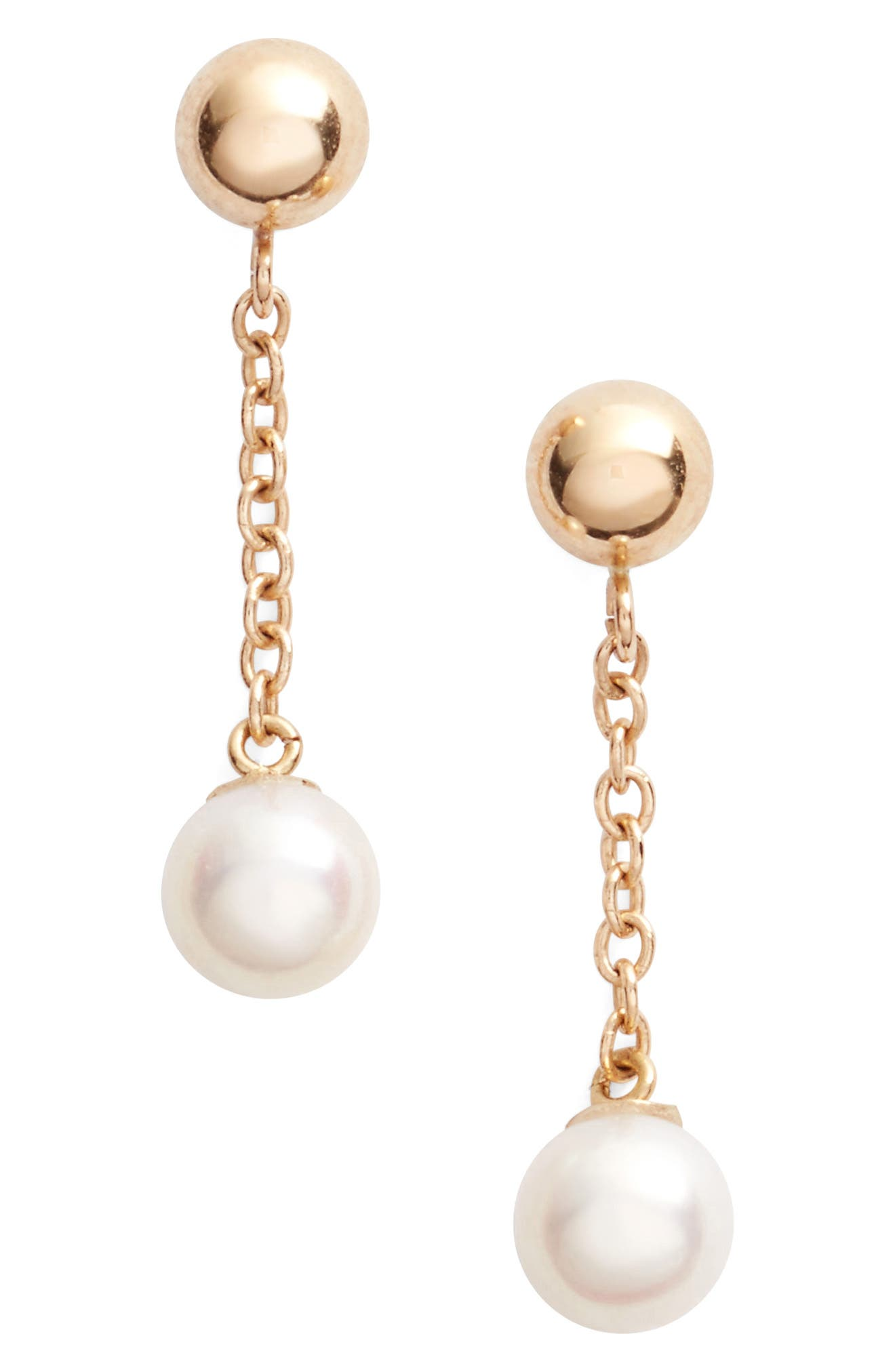 Linear Drop Pearl Earrings,                             Main thumbnail 1, color,                             YELLOW GOLD/ WHITE PEARL